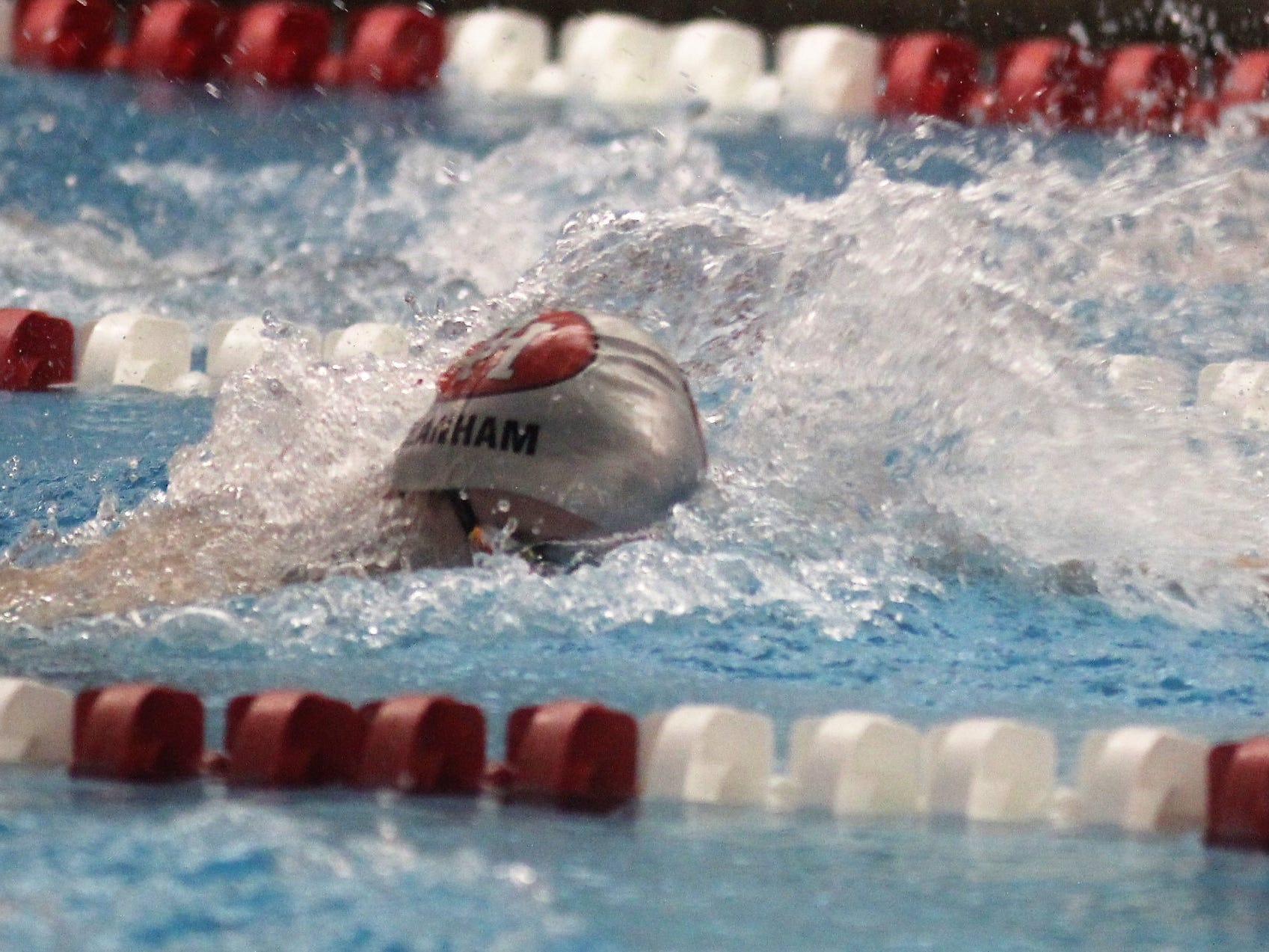 Dixie Heights senior Aaron Lanham swims the 200 freestyle during the KHSAA state boys swimming and diving championship Feb. 22, 2019 at the University of Louisville.