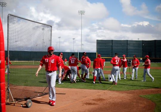 Cincinnati Reds starting pitcher Cody Reed (23) and the pitchers pick up balls after a bunting drill at the Cincinnati Reds spring training facility in Goodyear, Ariz., on Friday, Feb. 22, 2019.