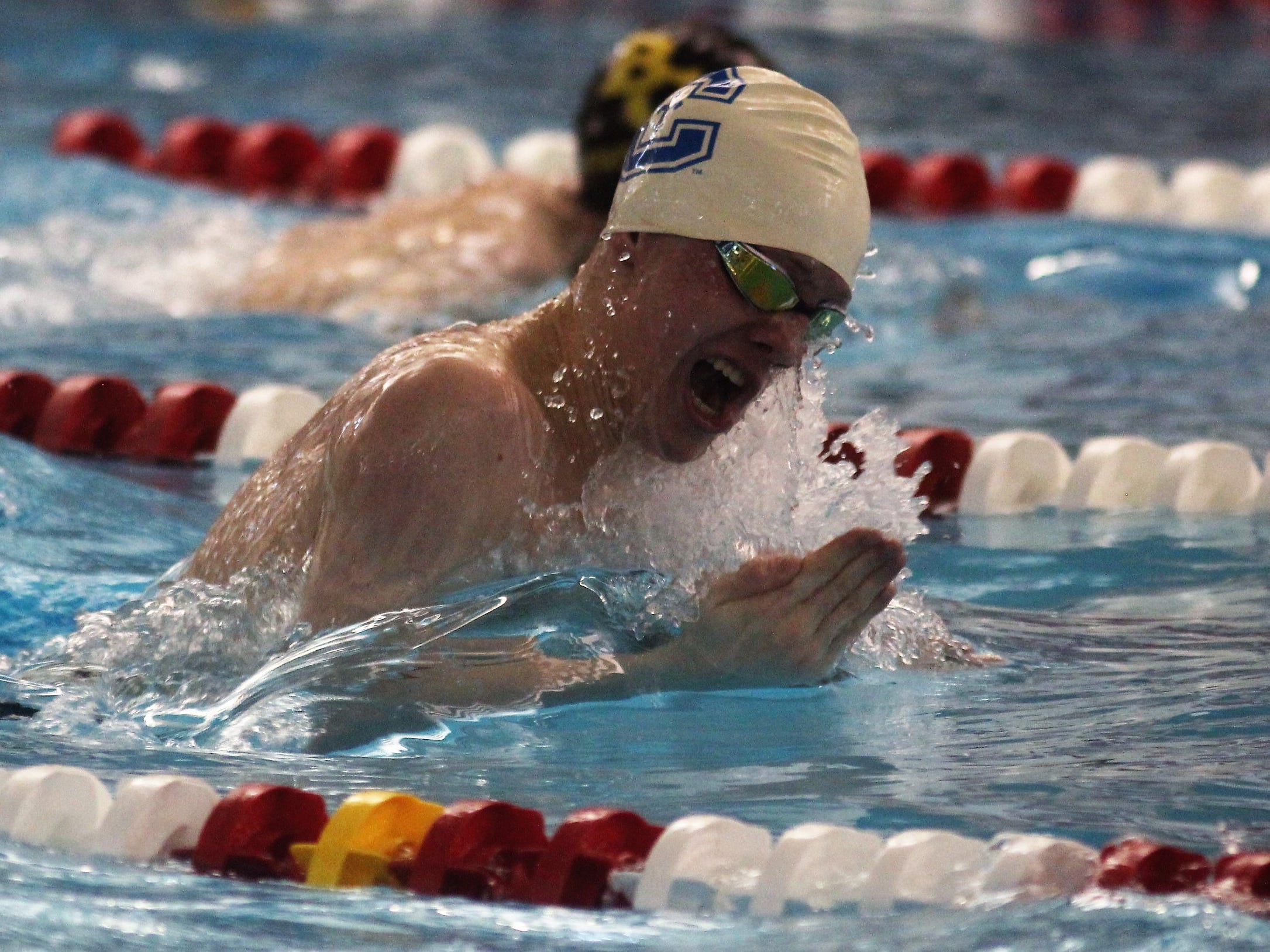 CovCath sophomore Patrick Lester swims the 200 IM during the KHSAA state boys swimming and diving championship Feb. 22, 2019 at the University of Louisville.
