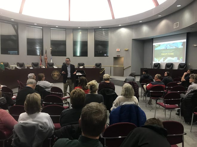 Frank Forsthoefel, Sycamore superintendent, discusses the three master facility options the district is considering during a recent concept testing session at the Blue Ash City Council Chambers.