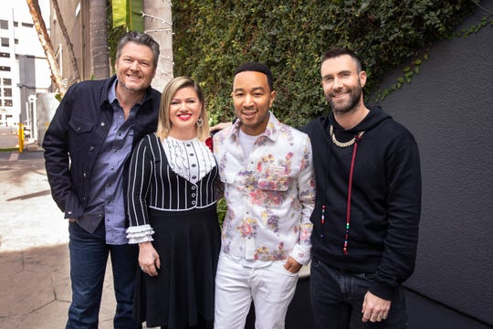"""""""The Voice"""" judges for Season 16, from left, are Blake Shelton, Kelly Clarkson, John Legend and Adam Levine."""