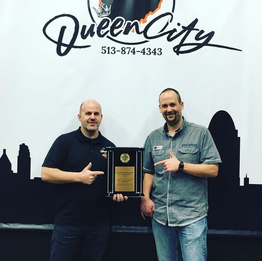 Owner, Brett Tekavec, and General Manager Mike Demcho receiving the Gold Bar & Shield Award for 2017. The Silver Bar & Shield Award for 2018 marks two years in a row of achievements for Queen City Harley-Davidson.