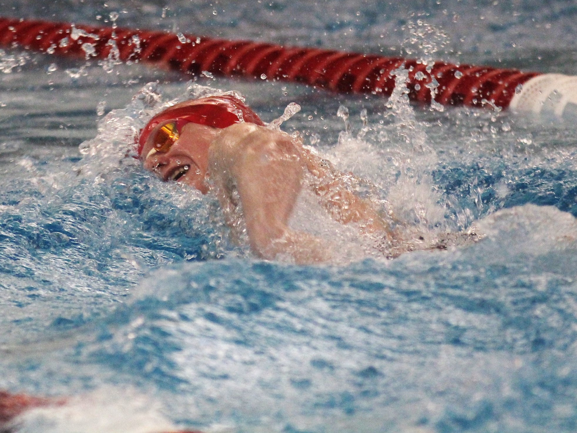 Beechwood sophomore Eli Shoyat in the 200 freestyle during the KHSAA state boys swimming and diving championship Feb. 22, 2019 at the University of Louisville.