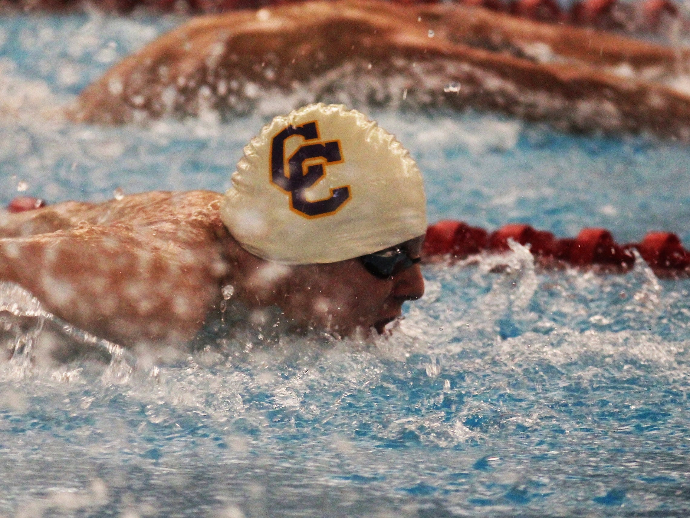 Campbell County senior Colten Stephany in the 100 butterfly during the KHSAA boys state swimming and diving championships Feb. 22, 2019 at the University of Louisville.