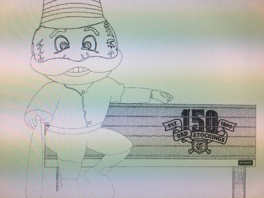 An artist's rendering of a Mr. Redlegs bench celebrating the team's 150th anniversary