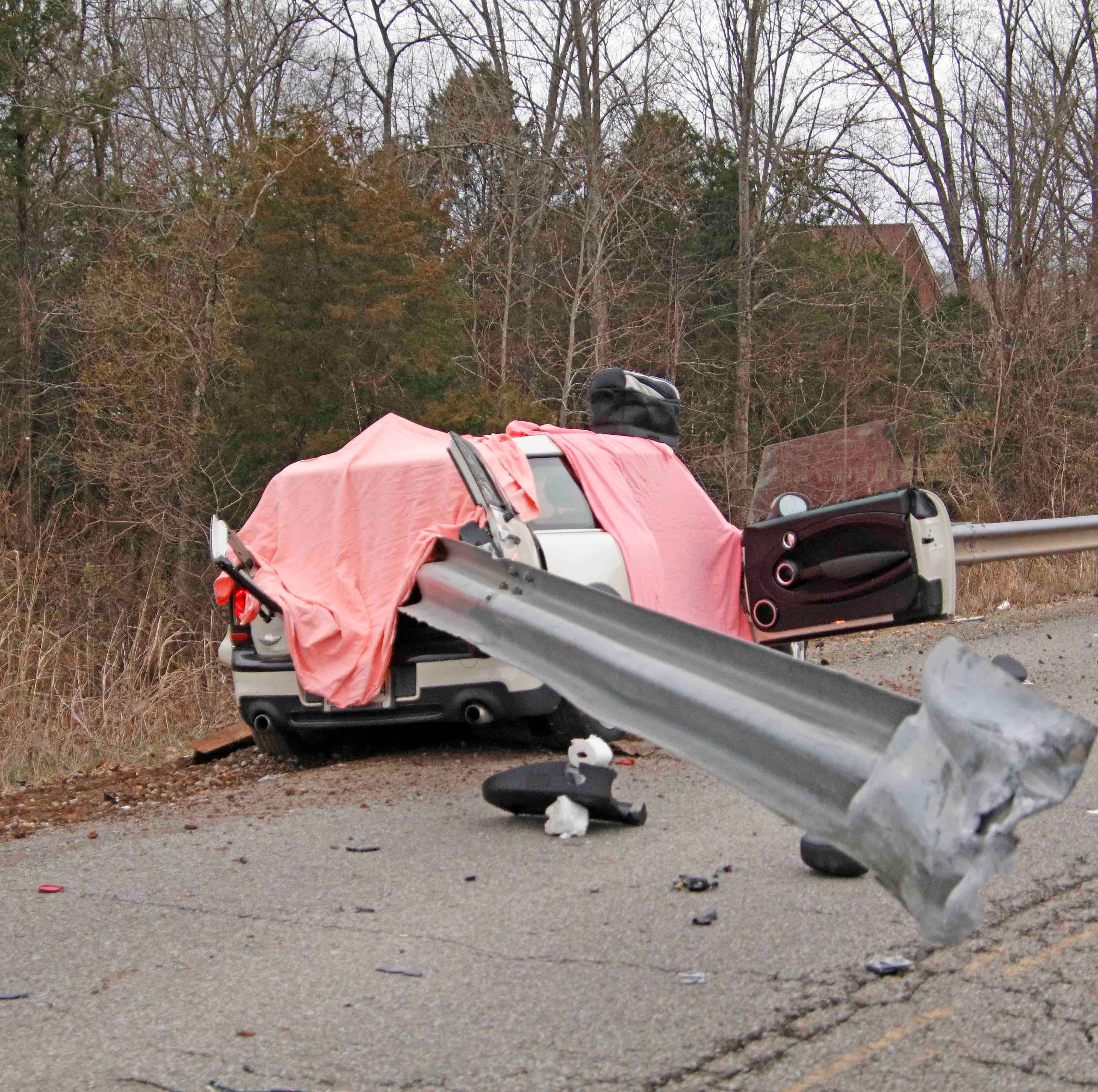 Man killed after guard rail smashes through Mini Cooper in Clarksville