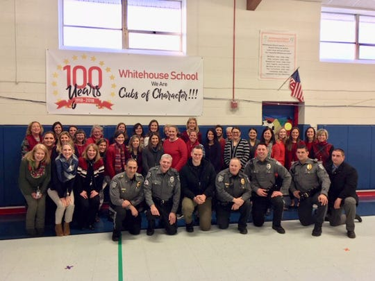 """It was Caring Month at Whitehouse School. Students and staff members have been focusing on ways to show caring toward others in school, at home, and out in the community. In the spirit of caring, Whitehouse School teachers and staff members showed their appreciation for Readington's Finest by hosting their annual WHS """"Police Be My Valentine"""" Dessert Party in honor of the Readington Township Police Department."""