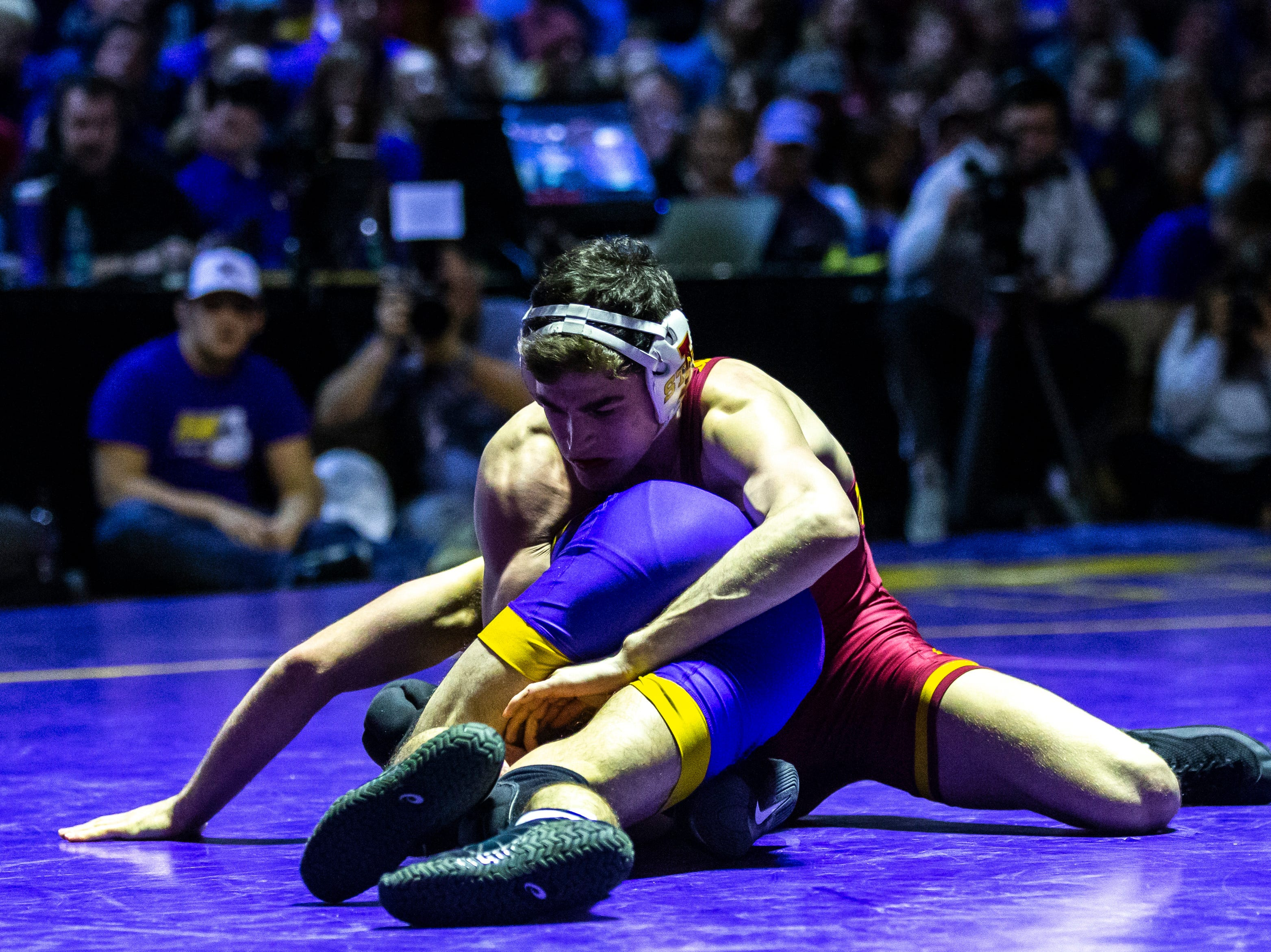 Iowa State's Jarrett Degen wrestles Northern Iowa's Max Thomsen at 149 during a NCAA Big 12 wrestling dual on Thursday, Feb. 21, 2019 at the West Gymnasium in Cedar Falls, Iowa.