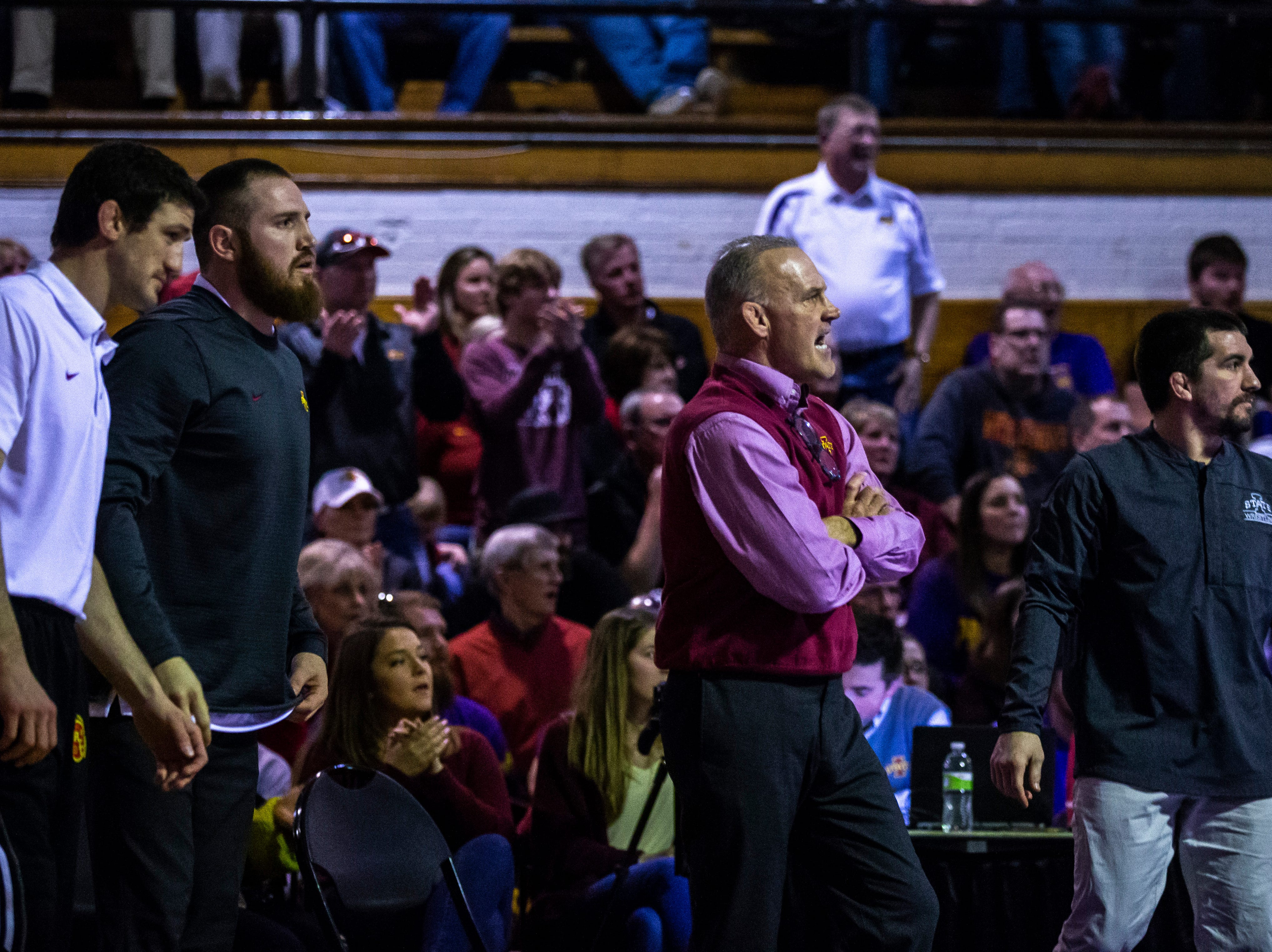 Iowa State head coach Kevin Dresser calls out during a NCAA Big 12 wrestling dual on Thursday, Feb. 21, 2019 at the West Gymnasium in Cedar Falls, Iowa.