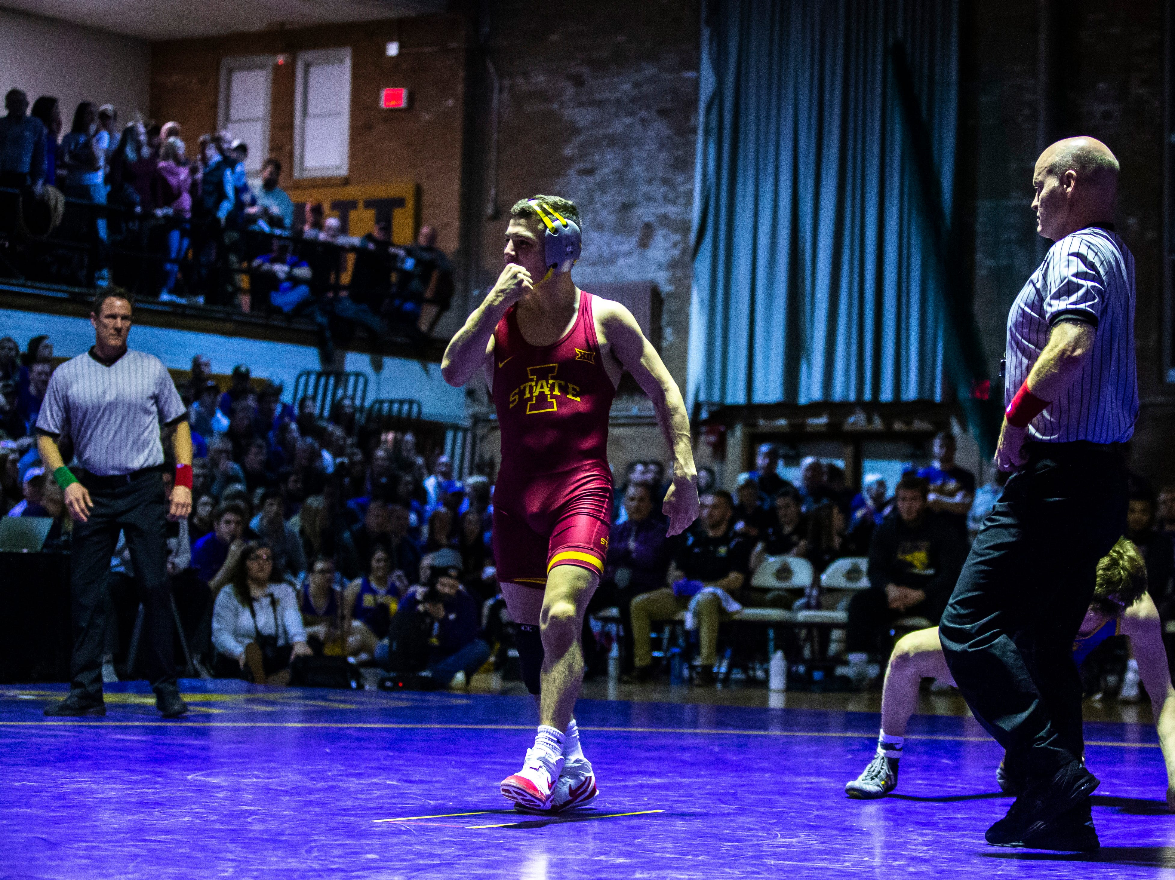 Iowa State's Austin Gomez reacts after defeating Northern Iowa's Jack Skudlarczyk at 133 during a NCAA Big 12 wrestling dual on Thursday, Feb. 21, 2019 at the West Gymnasium in Cedar Falls, Iowa.