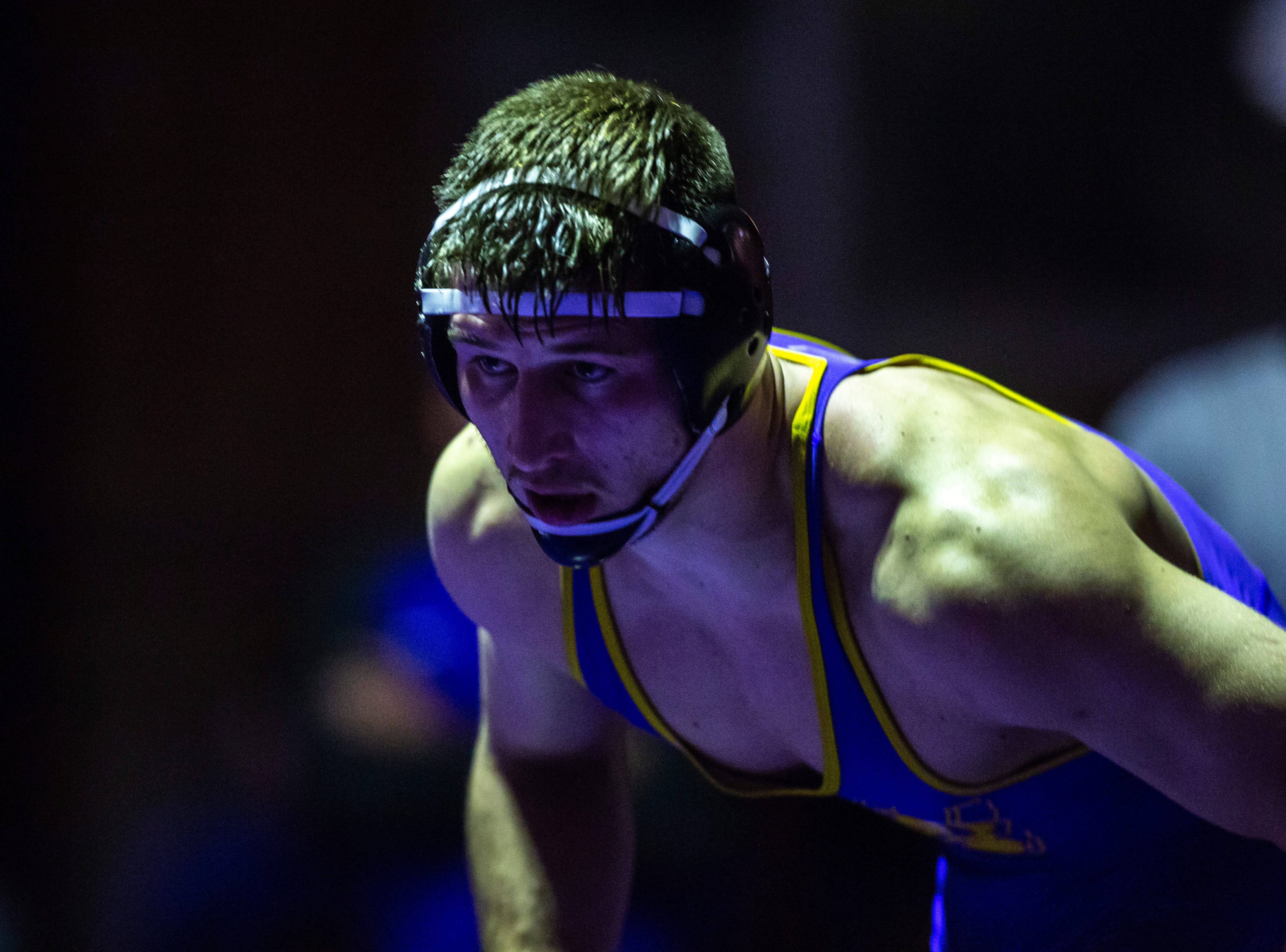 Northern Iowa's Drew Foster at 184 during a NCAA Big 12 wrestling dual on Thursday, Feb. 21, 2019 at the West Gymnasium in Cedar Falls, Iowa.