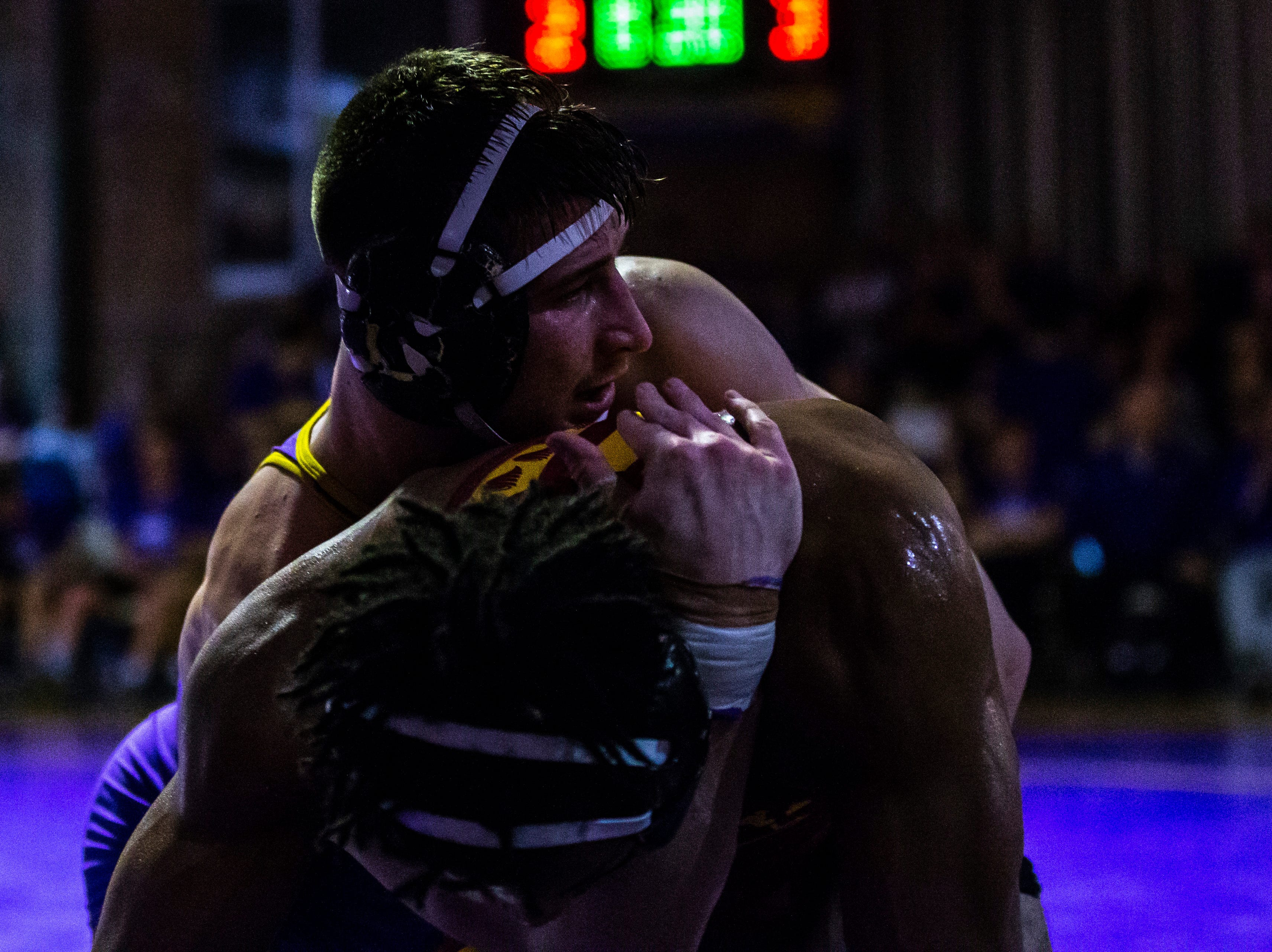 Iowa State's Sam Colbray wrestles Northern Iowa's Drew Foster at 184 during a NCAA Big 12 wrestling dual on Thursday, Feb. 21, 2019 at the West Gymnasium in Cedar Falls, Iowa.