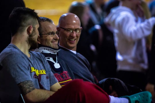 Iowa State's Willie Miklus sits with his father, Garry, after a wrestling dual against Northern Iowa on Thursday, Feb. 21, 2019, at the West Gymnasium in Cedar Falls, Iowa.