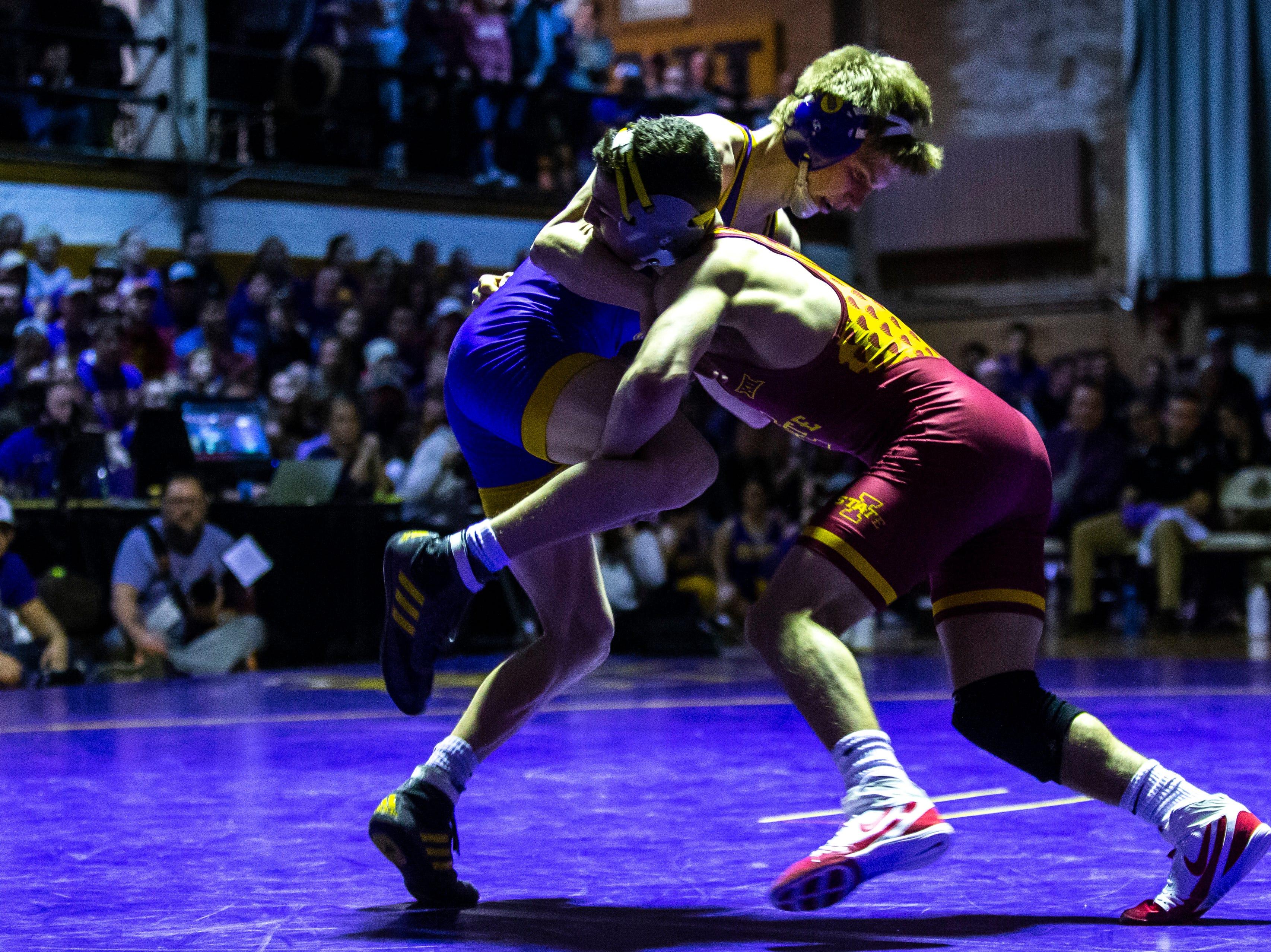 Northern Iowa's Jack Skudlarczyk wrestles Iowa State's Austin Gomez at 133 during a NCAA Big 12 wrestling dual on Thursday, Feb. 21, 2019 at the West Gymnasium in Cedar Falls, Iowa.