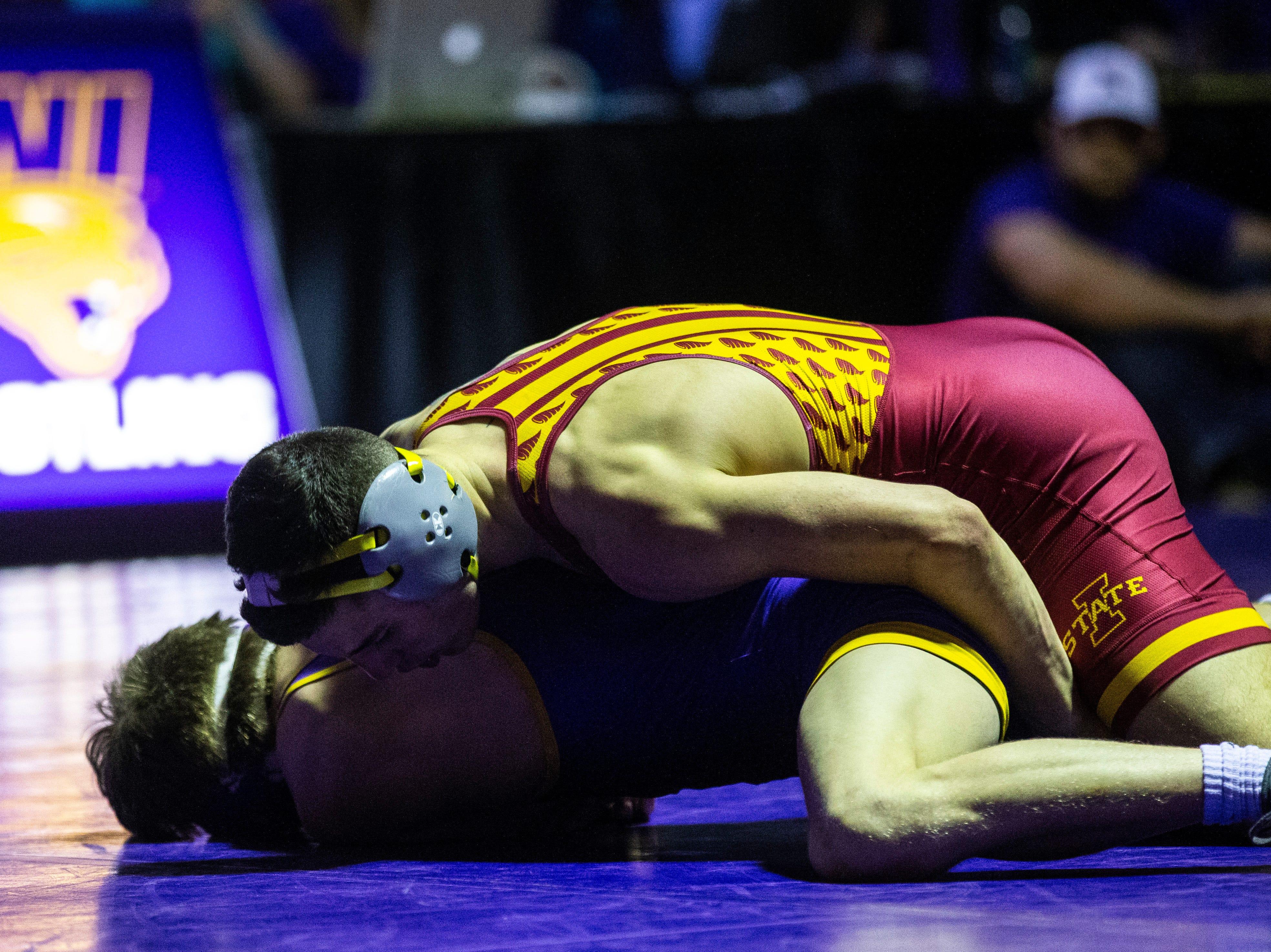 Iowa State's Austin Gomez wrestles Northern Iowa's Jack Skudlarczyk at 133 during a NCAA Big 12 wrestling dual on Thursday, Feb. 21, 2019 at the West Gymnasium in Cedar Falls, Iowa.