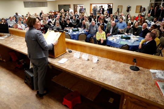2020 Democratic presidential candidate Sen. Amy Klobuchar speaks at the Ankeny Area Democrats' Winter Banquet, Thursday, Feb. 21, 2019, in Des Moines, Iowa. (AP Photo/Charlie Neibergall)