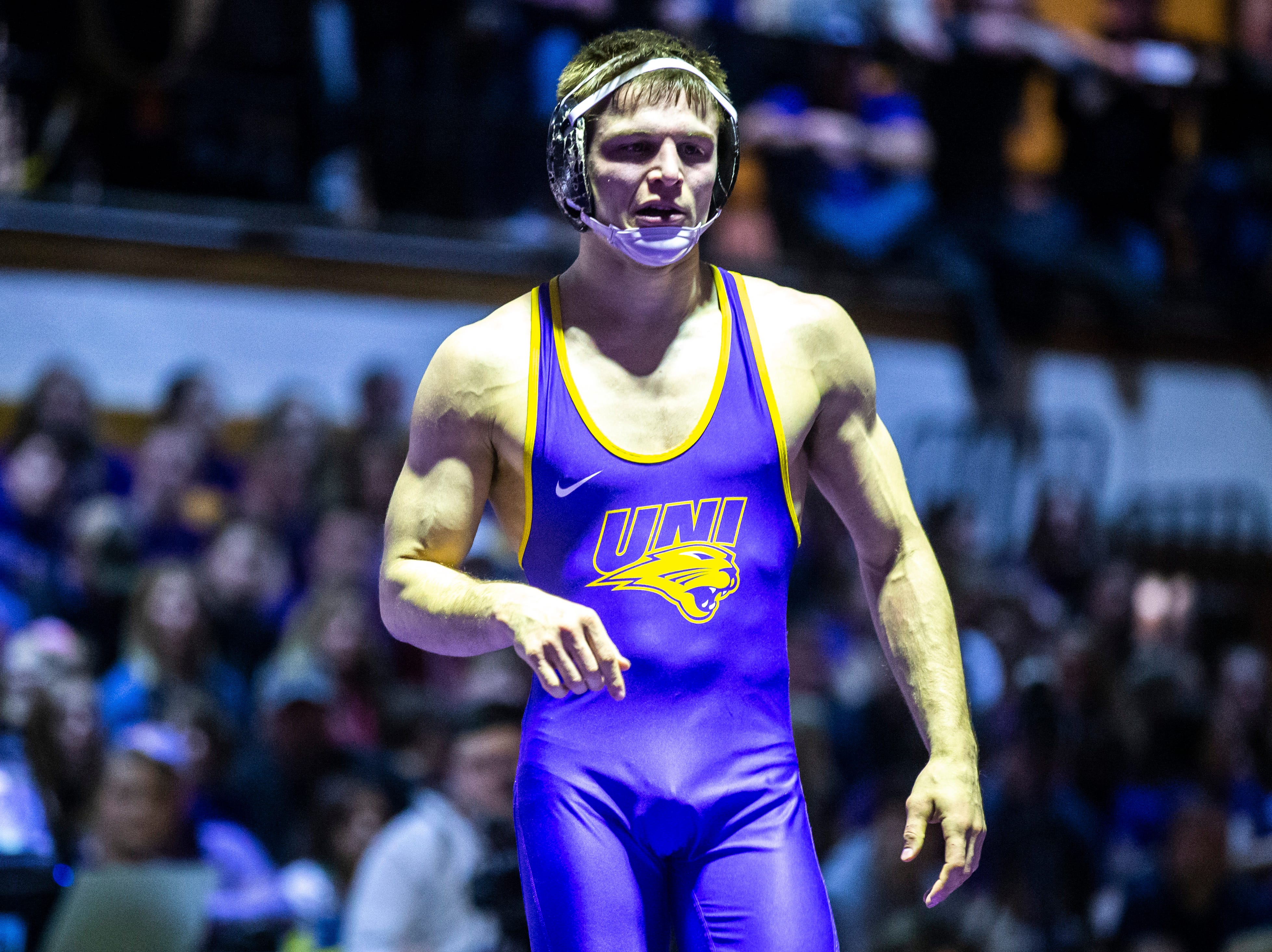 Northern Iowa's Max Thomsen wrestles Iowa State's Jarrett Degen at 149 during a NCAA Big 12 wrestling dual on Thursday, Feb. 21, 2019 at the West Gymnasium in Cedar Falls, Iowa.