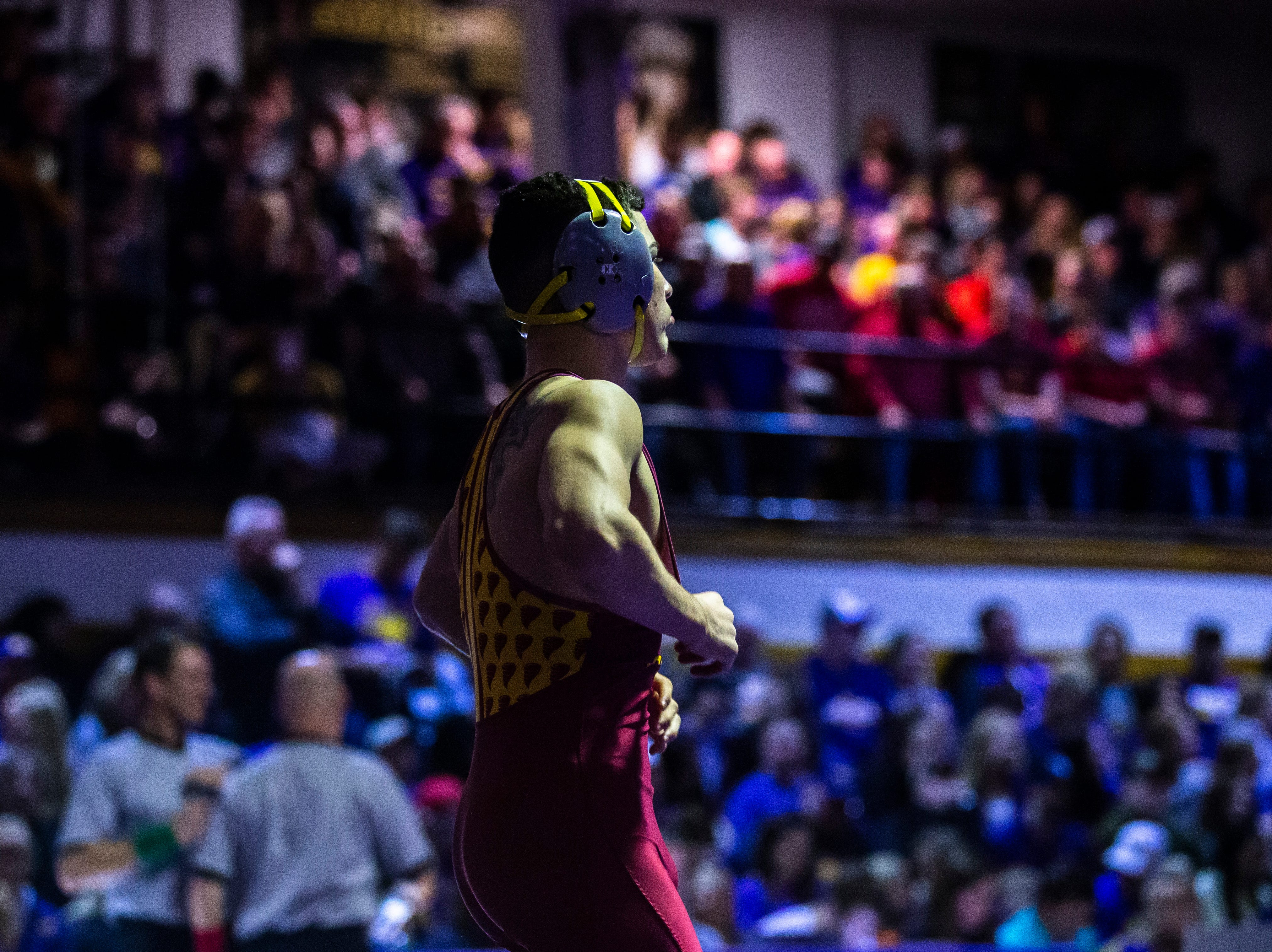 Iowa State's Austin Gomez is introduced before his match at 133 during a NCAA Big 12 wrestling dual on Thursday, Feb. 21, 2019 at the West Gymnasium in Cedar Falls, Iowa.