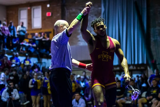 Iowa State's Sam Colbray has his hand raised after scoring a decision over Northern Iowa's Drew Foster at 184 during a their wrestling dual on Thursday, Feb. 21, 2019, at the West Gymnasium in Cedar Falls, Iowa.