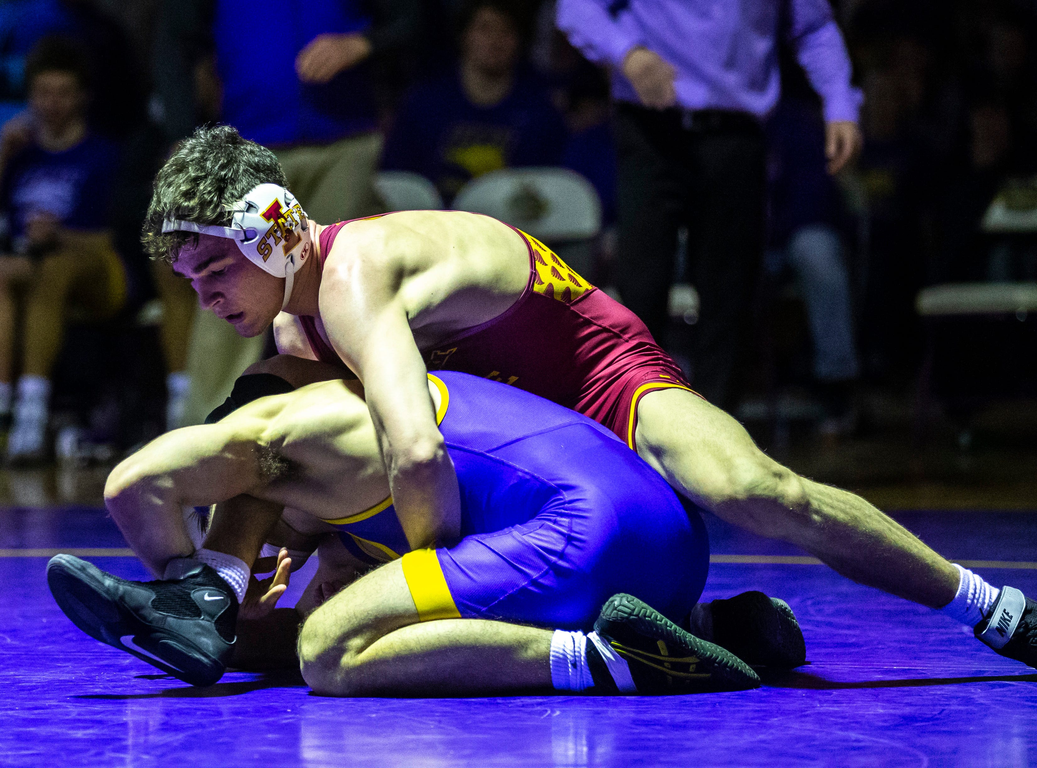 Northern Iowa's Max Thomsen wrestles Iowa State's Jarrett Degen at 149 during a NCAA Big 12 wrestling dual on Thursday, Feb. 21, 2019 at the West Gymnasium in Cedar Falls, Iowa.