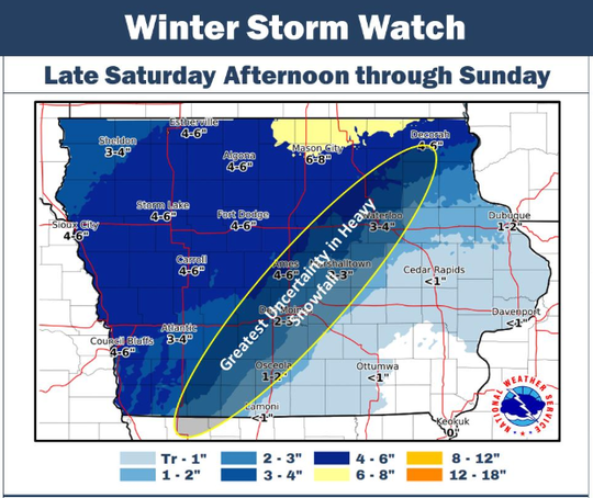 A graphic from the National Weather Service detailing possible precipitation in Iowa late Saturday Feb. 23, 2019 to Sunday Feb. 24, 2019.
