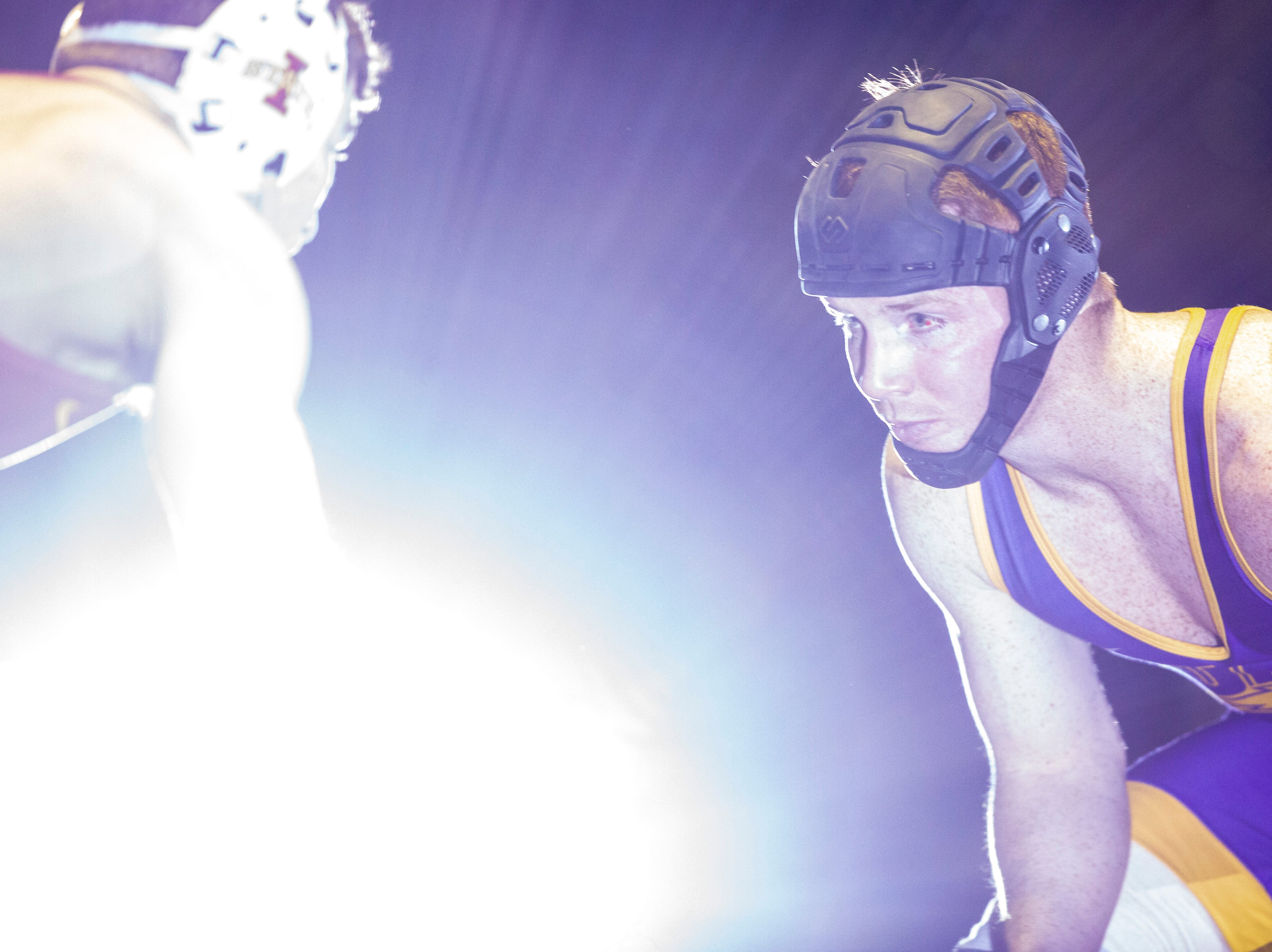 Northern Iowa's Paden Moore is introduced before a match against Iowa State's Chase Straw at 157 during a NCAA Big 12 wrestling dual on Thursday, Feb. 21, 2019 at the West Gymnasium in Cedar Falls, Iowa.