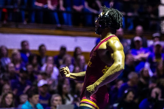 Iowa State's Sam Colbray celebrates after scoring a decision over Northern Iowa's Drew Foster at 184 during a NCAA Big 12 wrestling dual on Thursday, Feb. 21, 2019 at the West Gymnasium in Cedar Falls, Iowa.