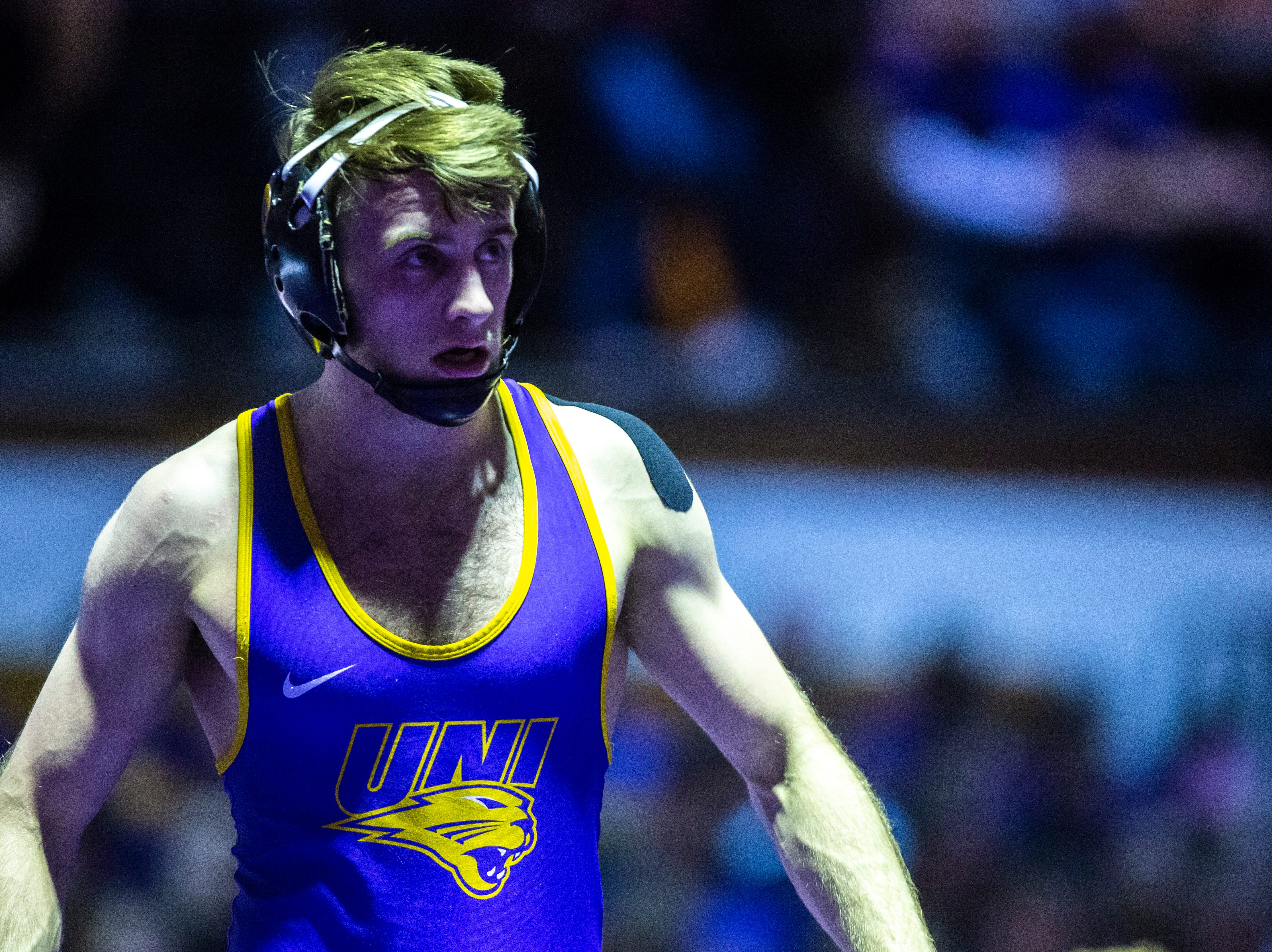 Northern Iowa's Jay Schwarm is seen during a match at 125 during a NCAA Big 12 wrestling dual on Thursday, Feb. 21, 2019 at the West Gymnasium in Cedar Falls, Iowa.