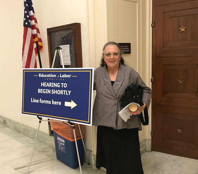 Kathy Eckhouse in Washington, D.C. where she spoke to the House Committee on Education and Labor.