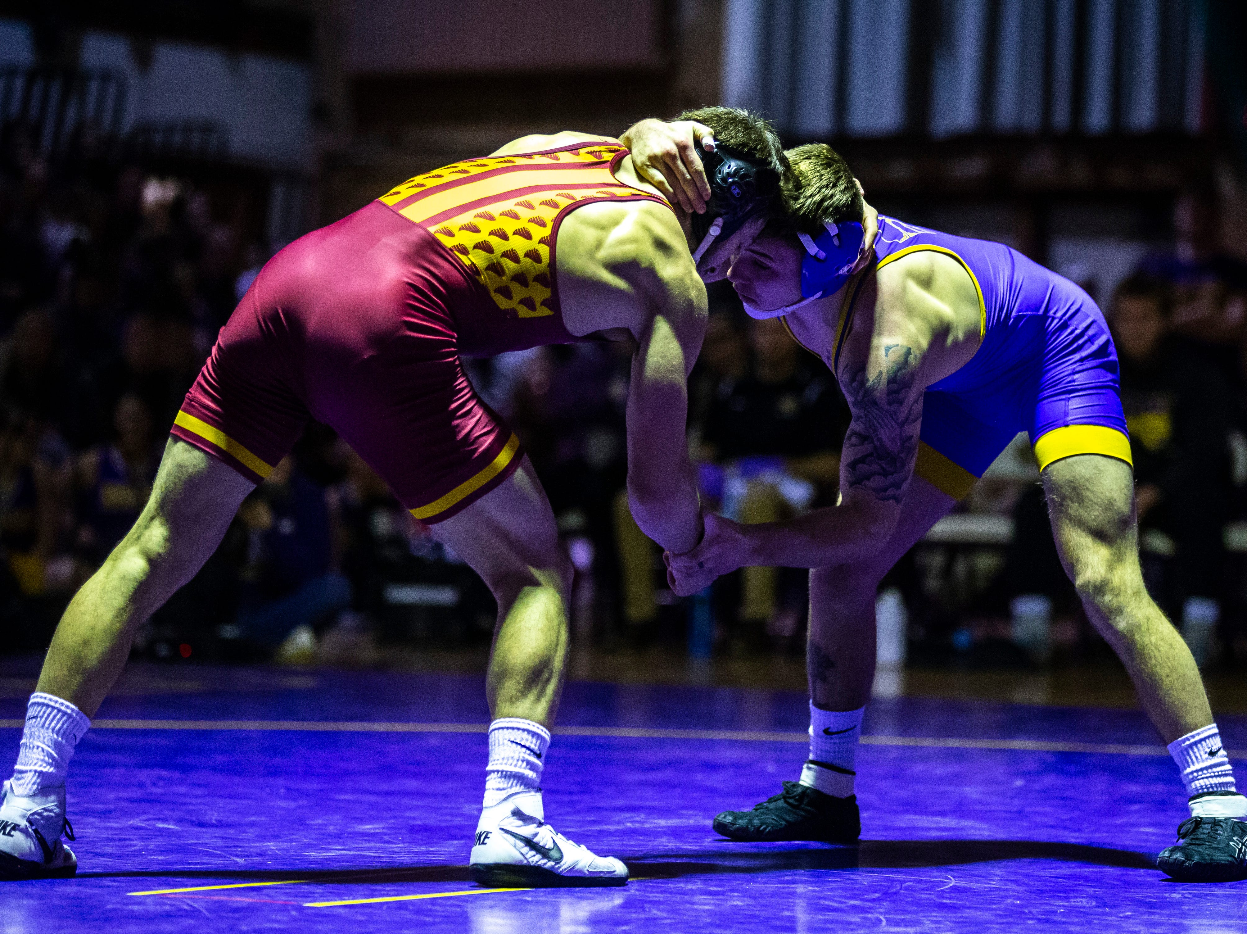 Northern Iowa's Josh Alber wrestles Iowa State's Ian Parker at 141 during a NCAA Big 12 wrestling dual on Thursday, Feb. 21, 2019 at the West Gymnasium in Cedar Falls, Iowa.