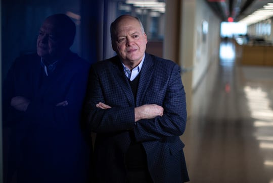 Ford Motor Company CEO Jim Hackett poses for a photo in the Henry Ford II World Center in Dearborn on Wednesday, February 20, 2019.