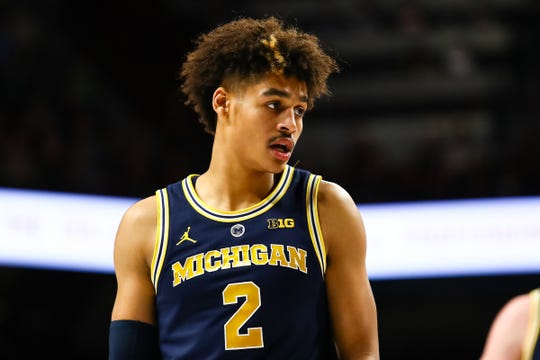 Michigan guard Jordan Poole in the second half against Minnesota, Thursday, Feb. 21, 2019, in Minneapolis.