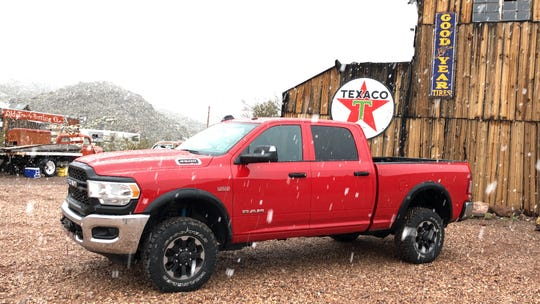The 2019 Ram 2500 Heavy Duty during a rare snow in the hills above Las Vegas.
