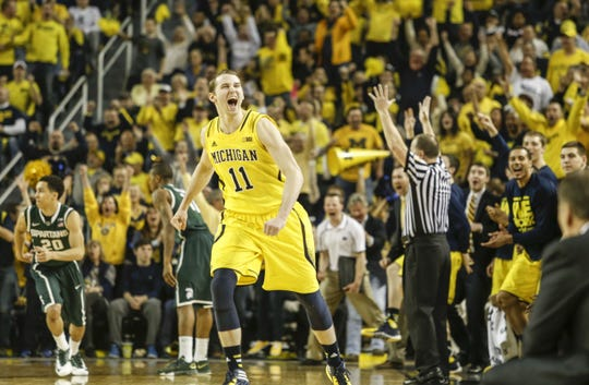 Nik Stauskas scored 21 of his 25 points in the second half against Michigan State on Feb. 23, 2014, as the Wolverines trounced the Spartans.