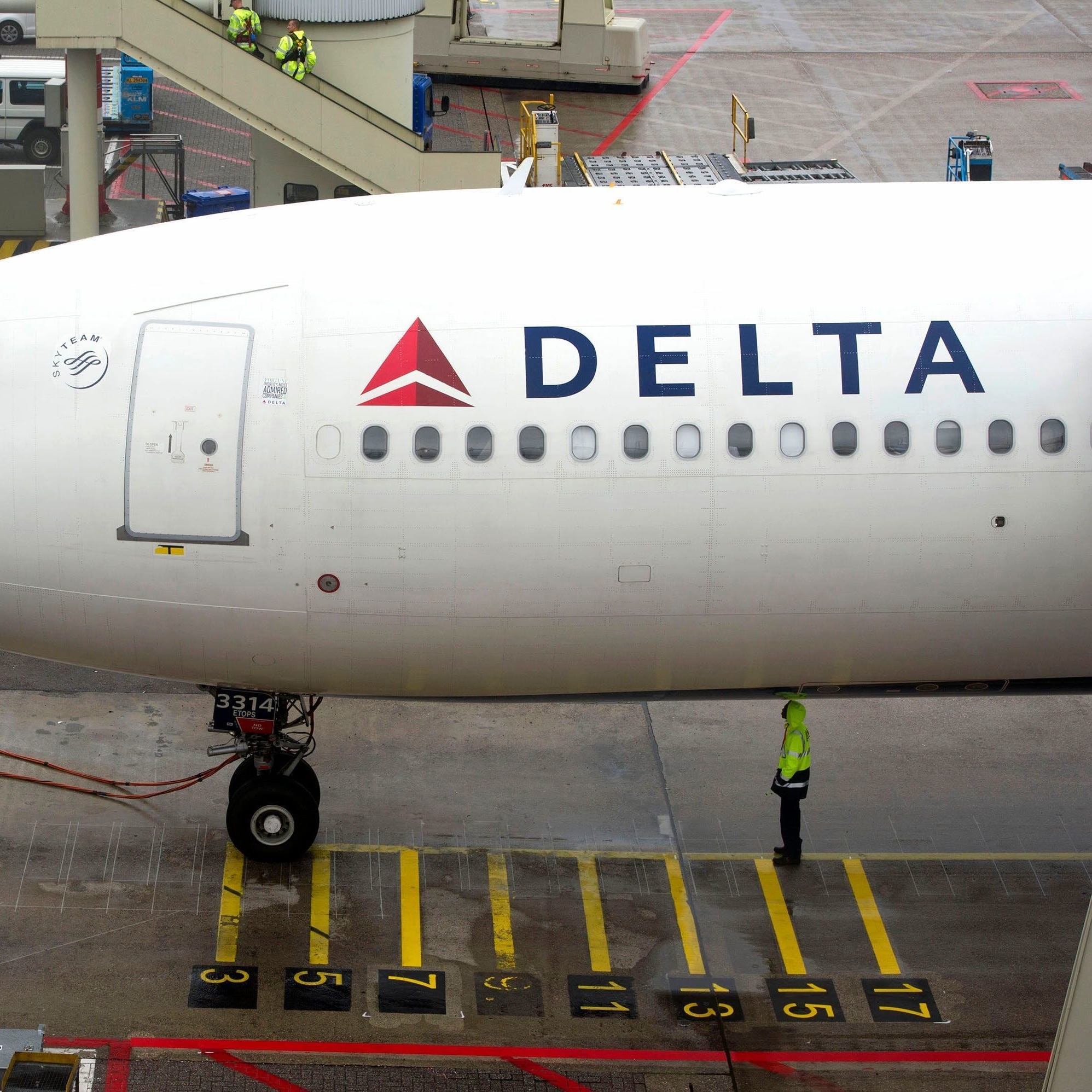 A Delta aircraft is seen on Schiphol airport in Amsterdam, Wednesday, Aug. 7, 2013.