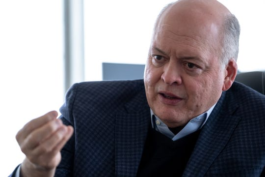 Ford Motor Company CEO Jim Hackett talks with reporter from Detroit Free Press in his office at the Henry Ford II World Center in Dearborn on Wednesday, February 20, 2019.