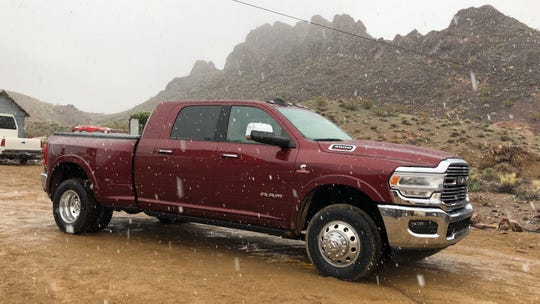 The 2019 Ram 3500 Heavy Duty, shot during a rare snow in the hills above Las Vegas, is equipped with a 6.7-liter I-6 engine that produces more than 1,000 pound-feet of torque, the wheel-turning force serious truckers prize most.
