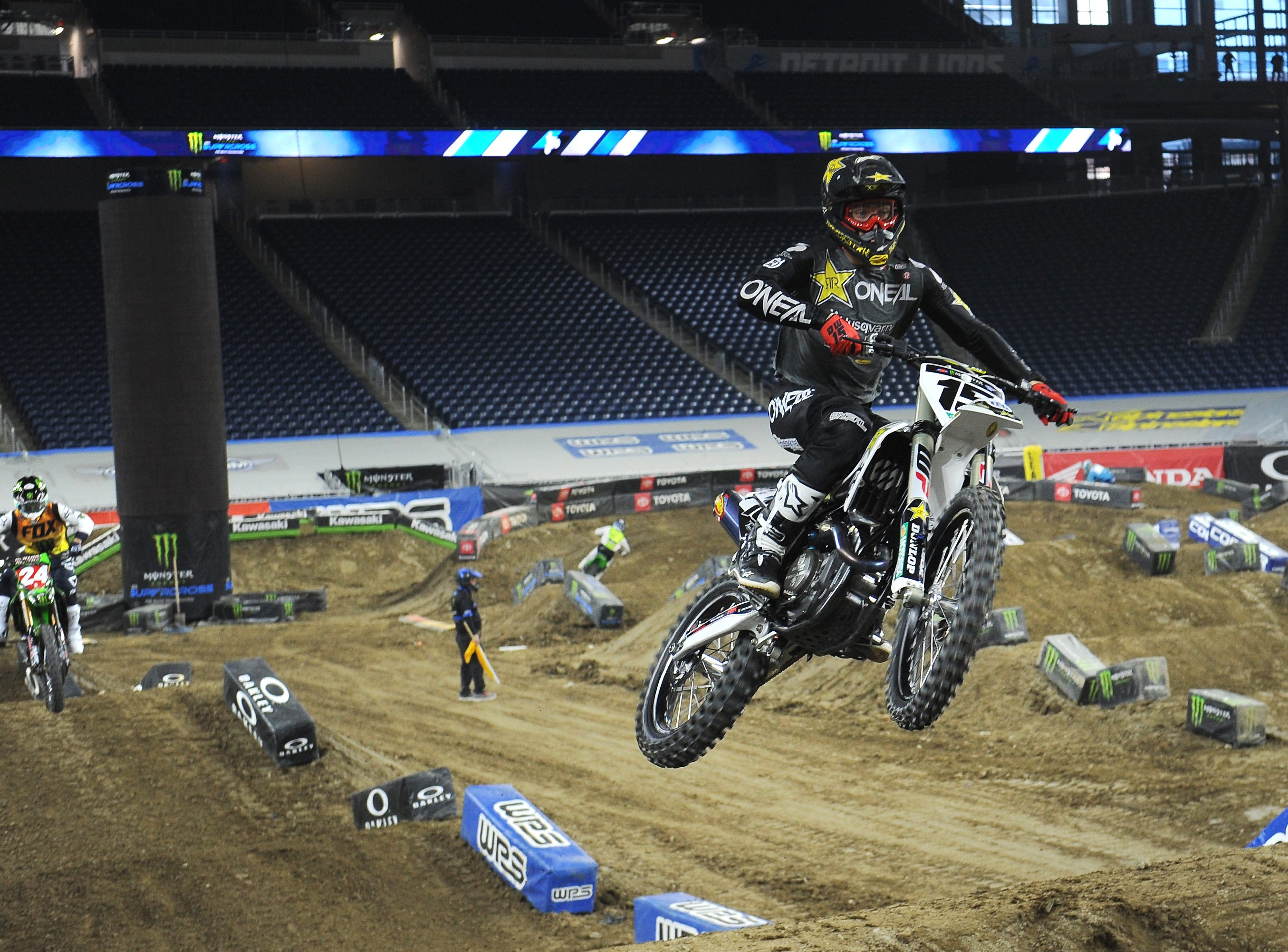 Top Supercross rider Dean Wilson (15) catches some serious air for the 2019 Monster Energy Supercross at Ford Field in Detroit on Friday, February 22, 2019.