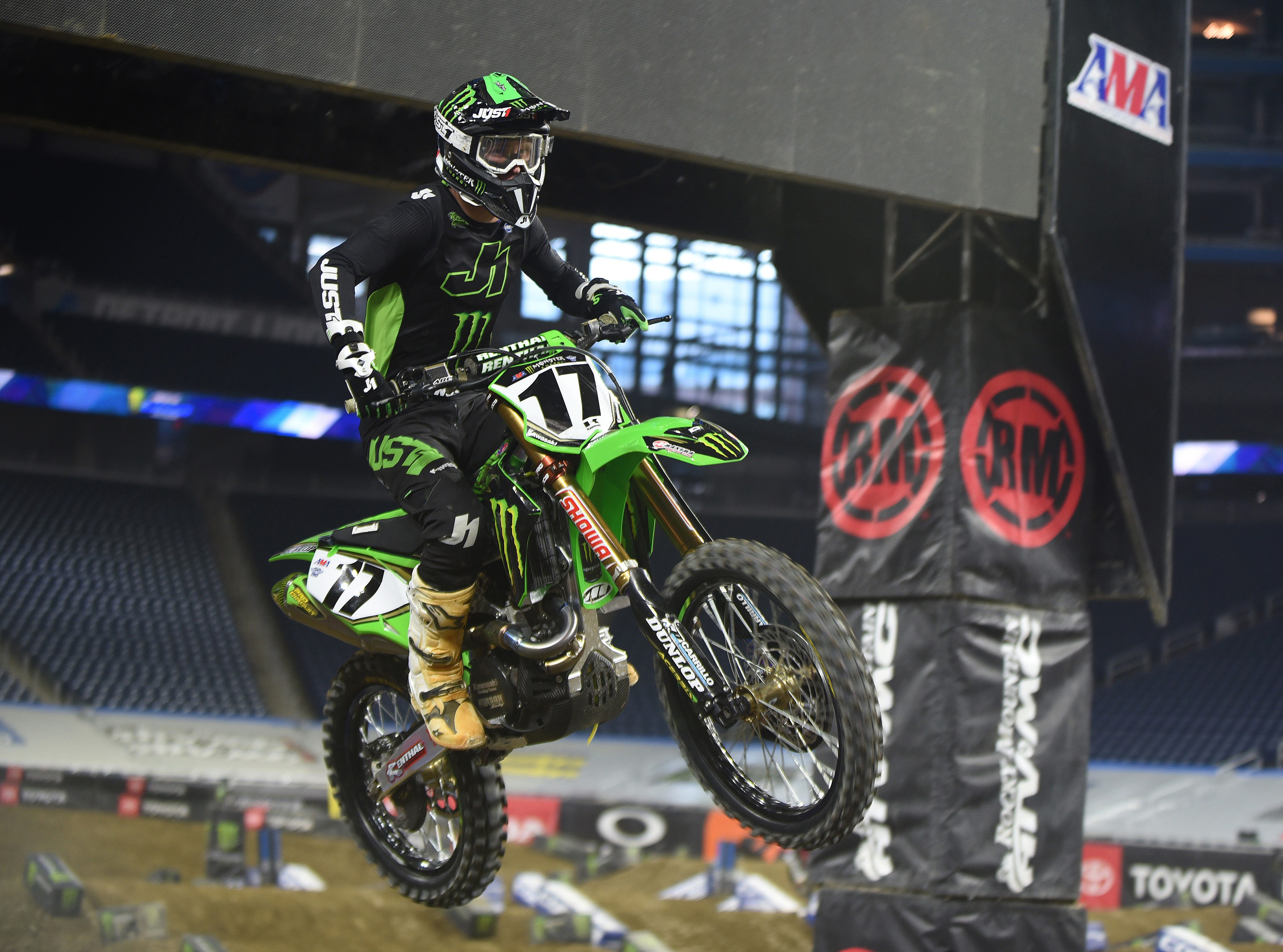 Supercross superstar Joey Savatgy (17) catches some air during a practice run for the 2019 Monster Energy Supercross at Ford Field in Detroit on Friday, February 22, 2019.