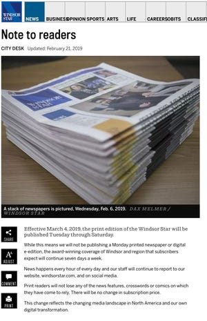 A screen grab of the Windsor Star's website article announcing that their print edition would be reduced to five days a week.