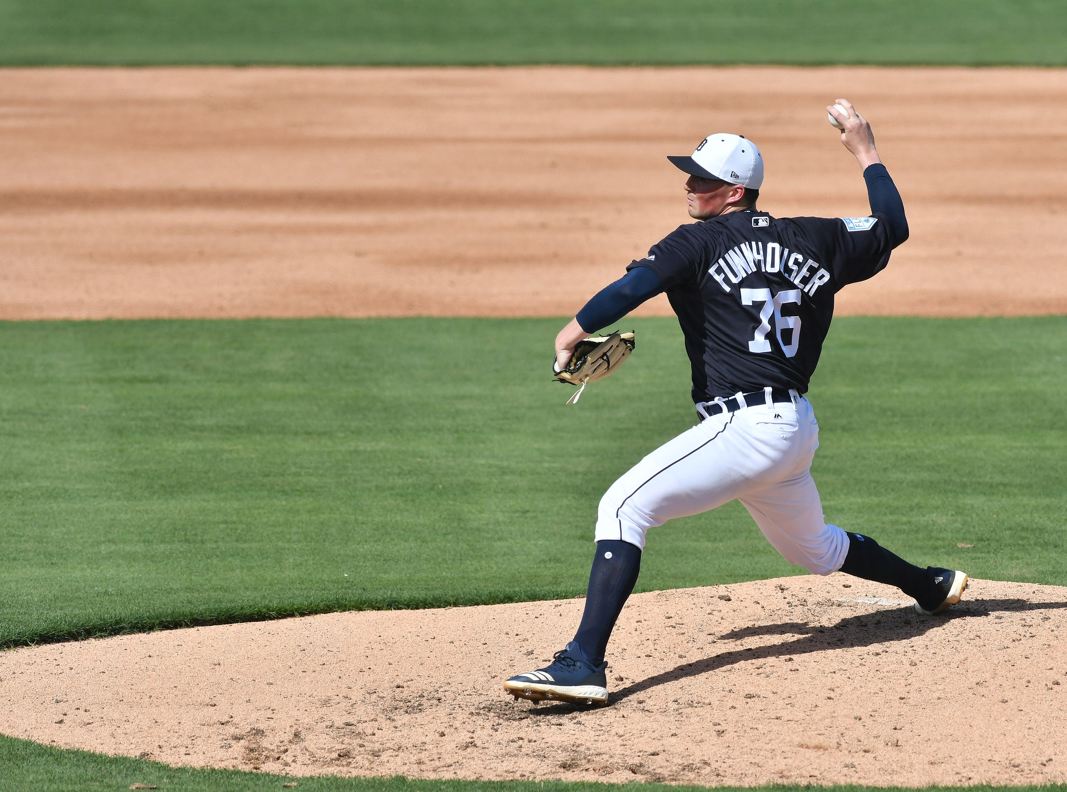 Tigers non-roster invitee Kyle Funkhouser works in the fifth inning.  Funkhouser pitched two hitless innings with four strikeouts.
