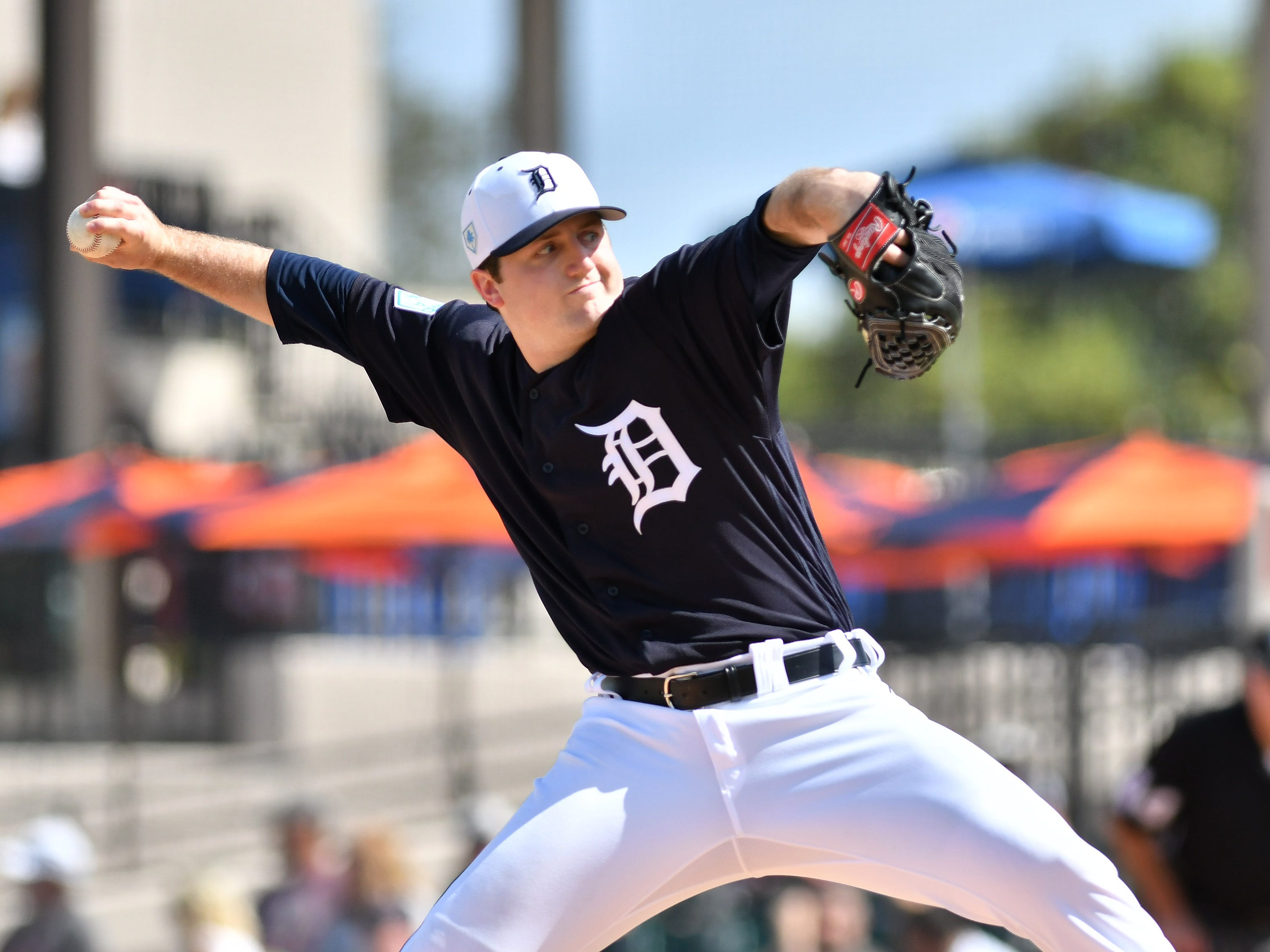 Tigers pitcher Casey Mize works in the third inning. Mize pitched two innings allowing three hits with one earned run and two strikeouts.