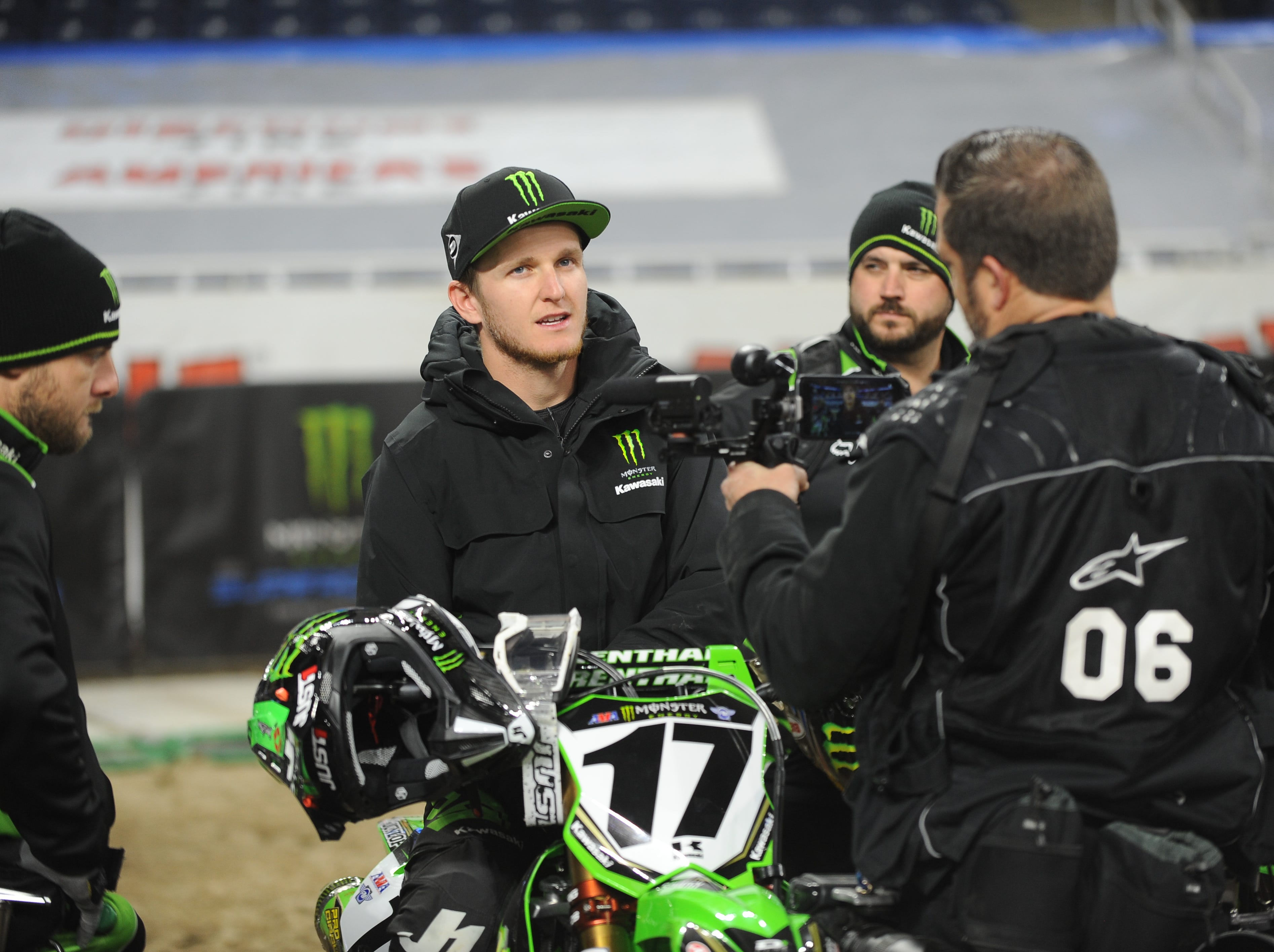 Top Supercross superstar Joey Savatgy (17) speaks to the news media during a practice run for the 2019 Monster Energy Supercross at Ford Field in Detroit on Friday, February 22, 2019.