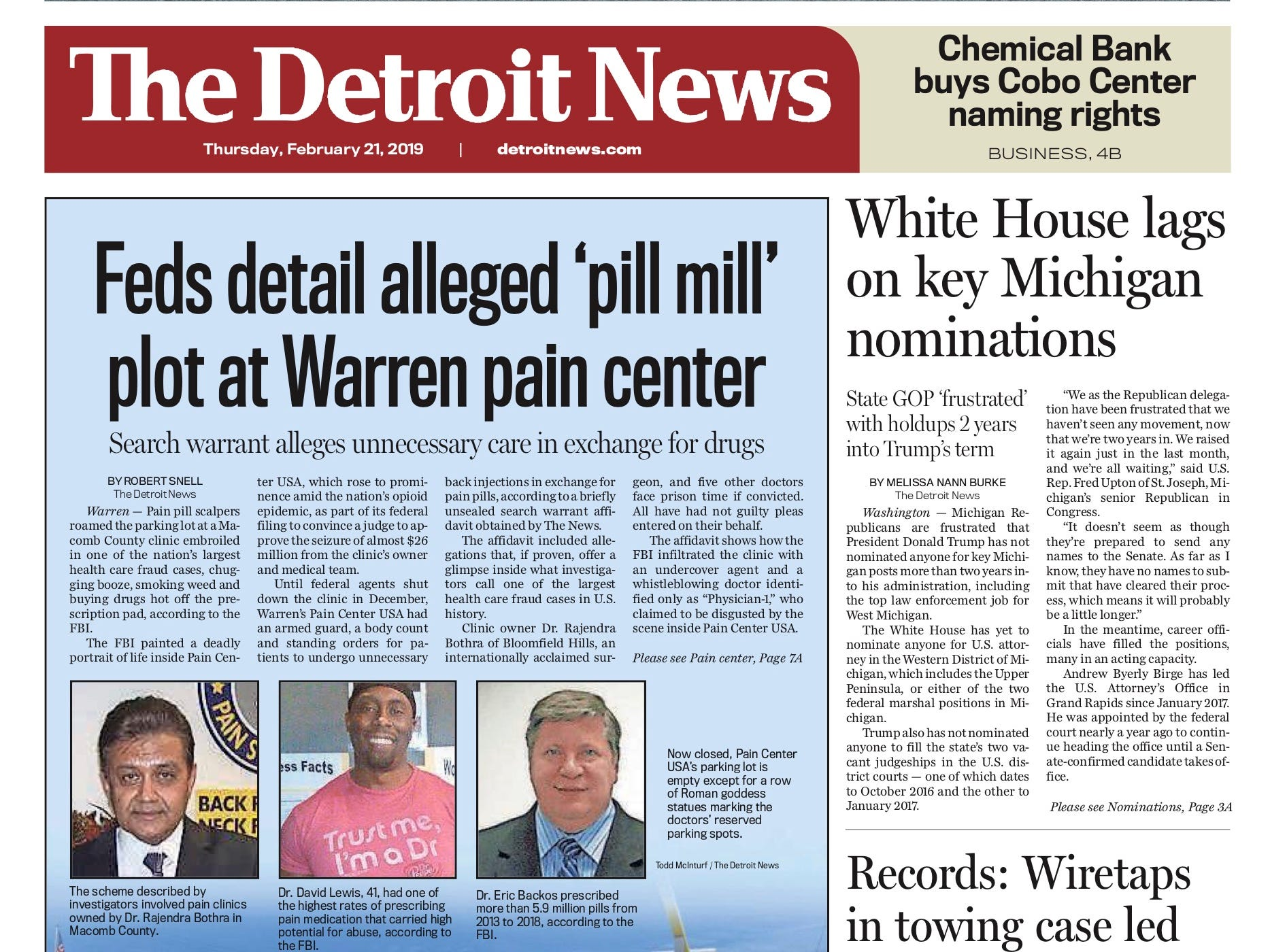 The front page of the Detroit News on February 21, 2019.