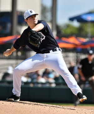 Tigers pitcher Casey Mize works in the third inning Friday.