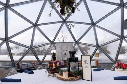 Interior view of The Grey Wolf igloo outdoor dinning rooms at the Deadwood Bar and Grill in Northville.