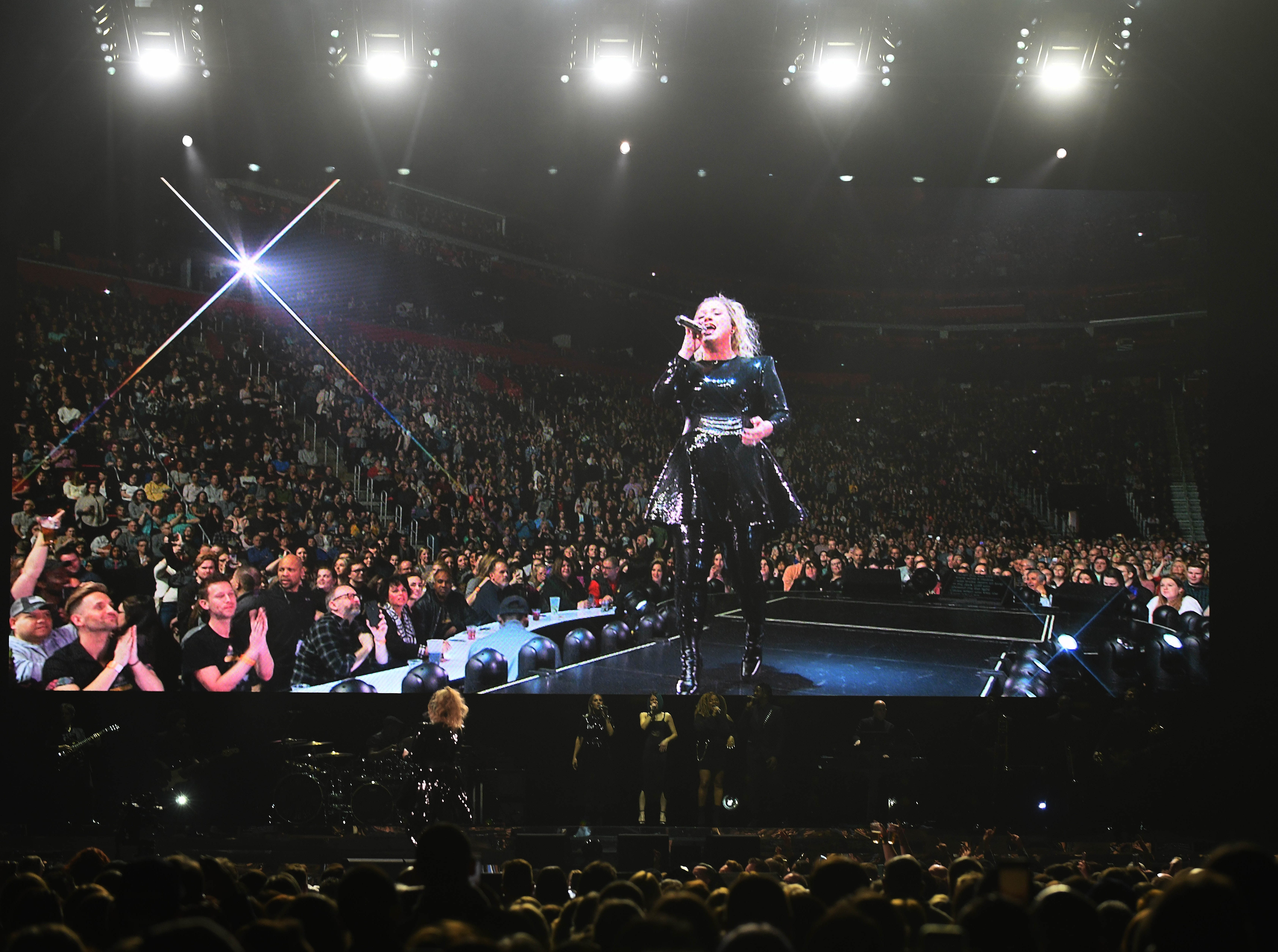 Kelly Clarkson's 'Meaning of Life' tour performs at Little Caesars Arena in Detroit, Michigan on February 21, 2019.