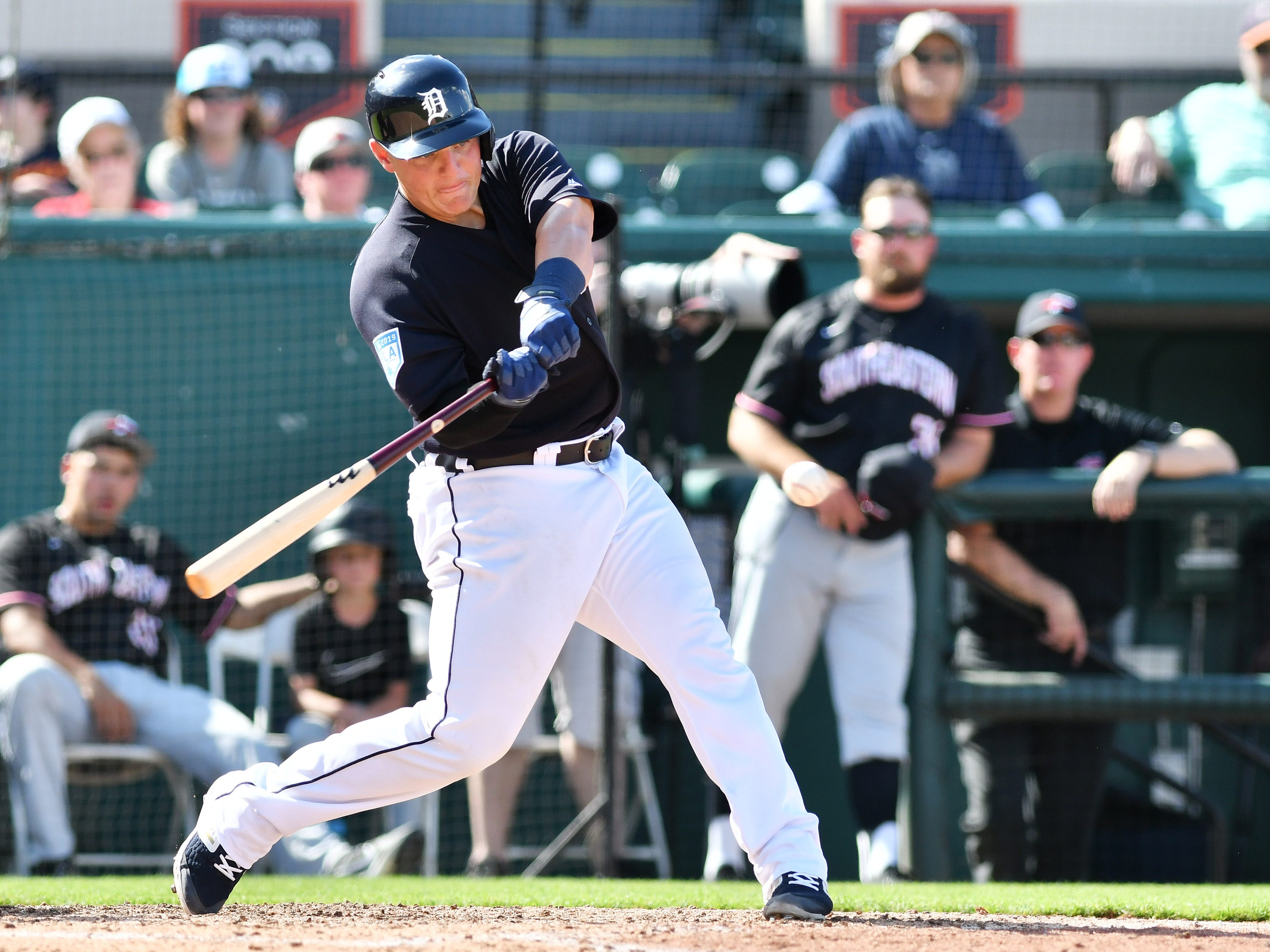 Tigers non-roster invitee Kade Scivicque doubles with an RBI in the seventh inning.