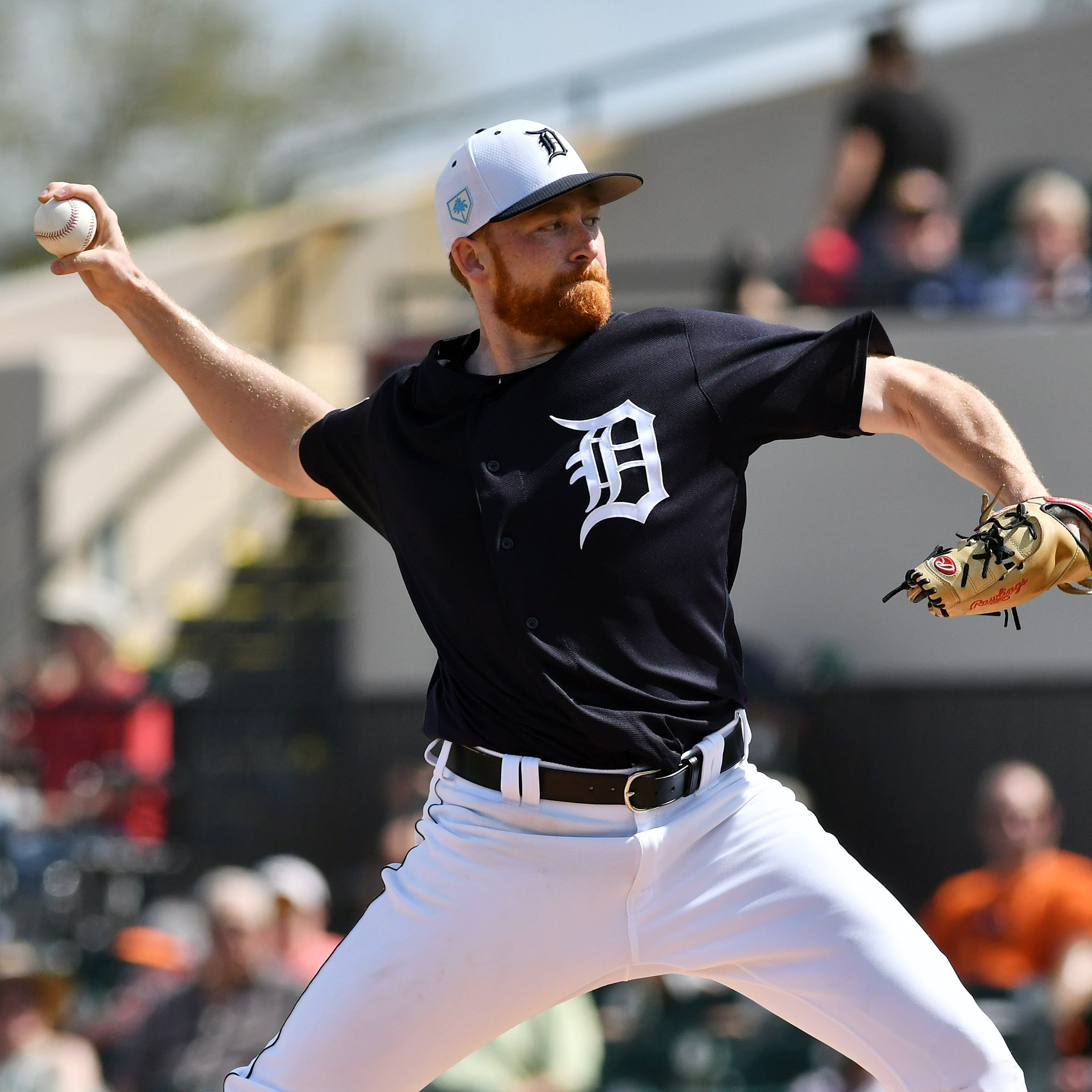 Tigers pitcher Spencer Turnbull works in the...