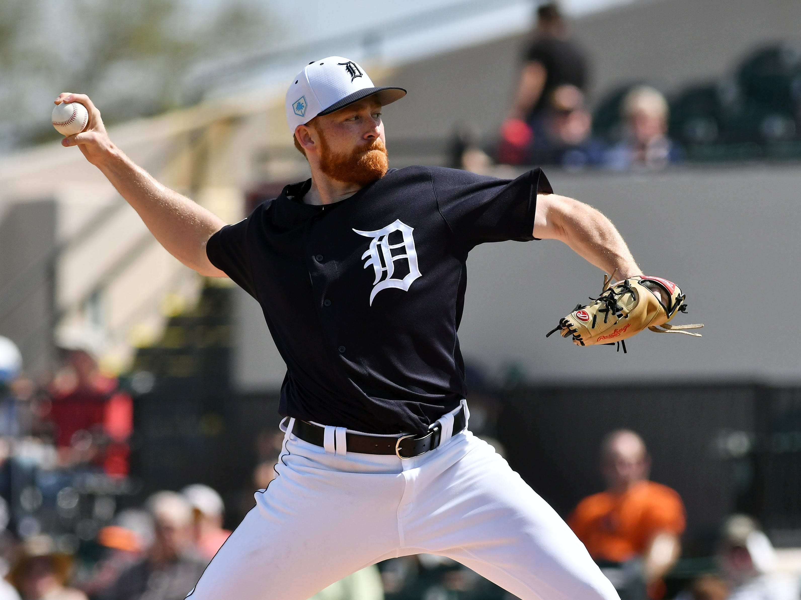 Tigers pitcher Spencer Turnbull works in the second inning as the Detroit Tigers win 13-2 over Southeastern University in Lakeland, Fla. on Feb. 22, 2019. Turnbull pitched two innings allowing one hit with one strikeout.